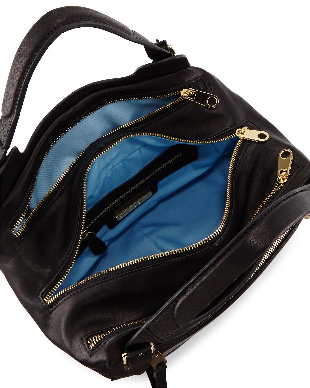Lyst - Cynthia Rowley Juno Large Leather Satchel Bag in Black cfff74aa9368c
