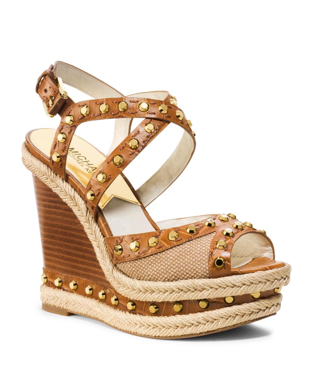 Michael Kors Michael Jade Studded Wedge Sandal In Brown