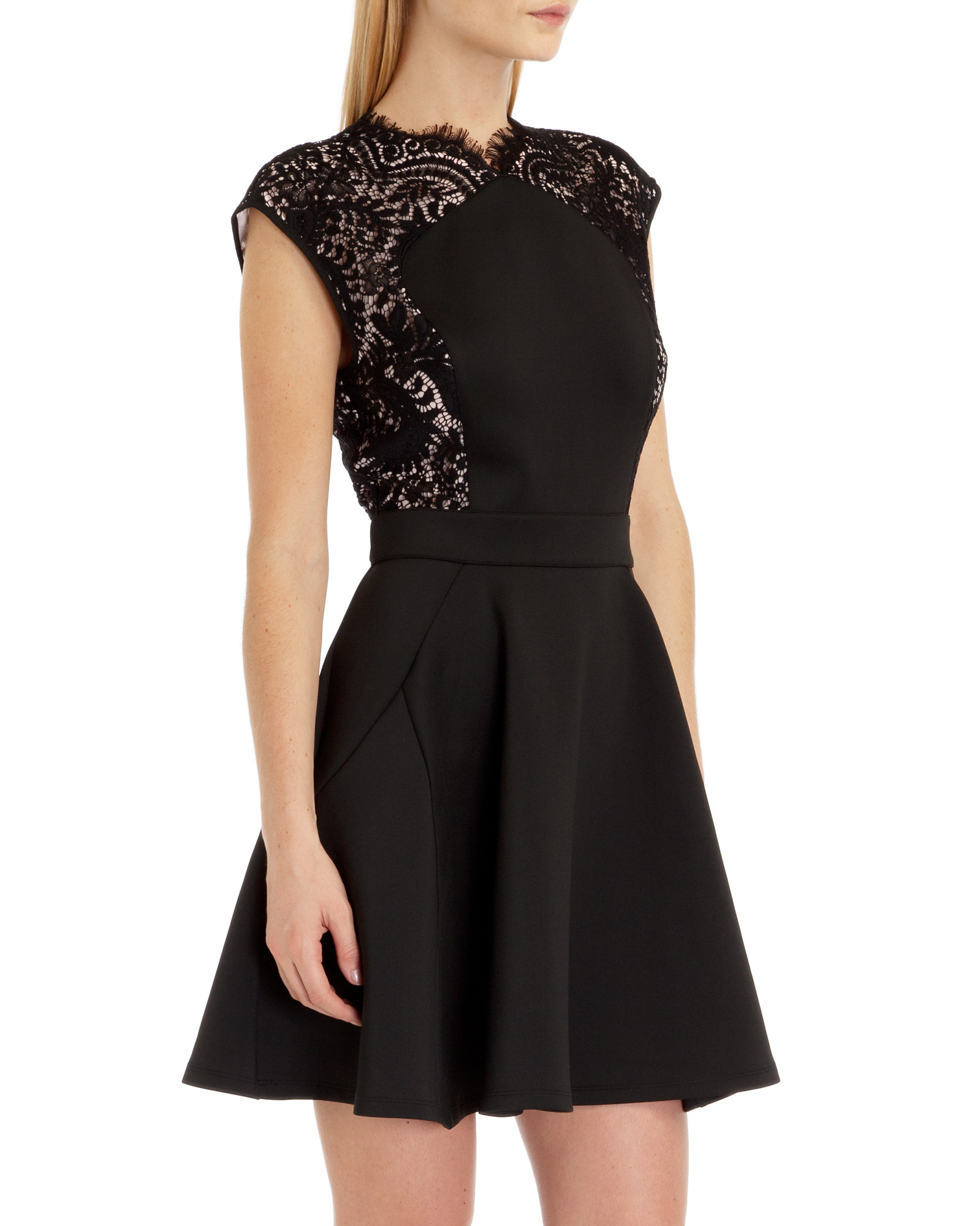 Lyst Ted Baker Lace Panel Dress In Black