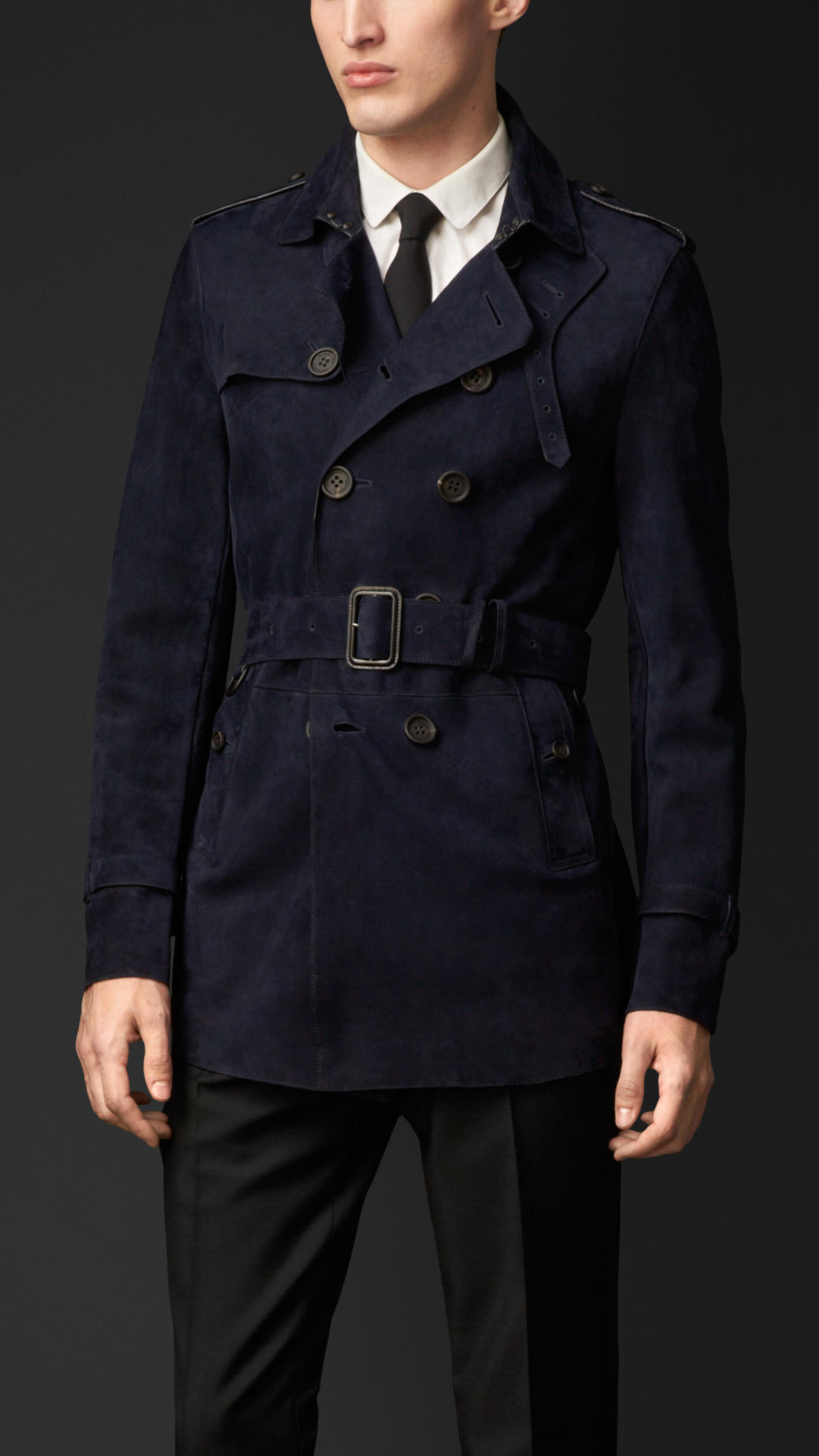 Burberry Suede Trench Coat In Blue For Men Lyst