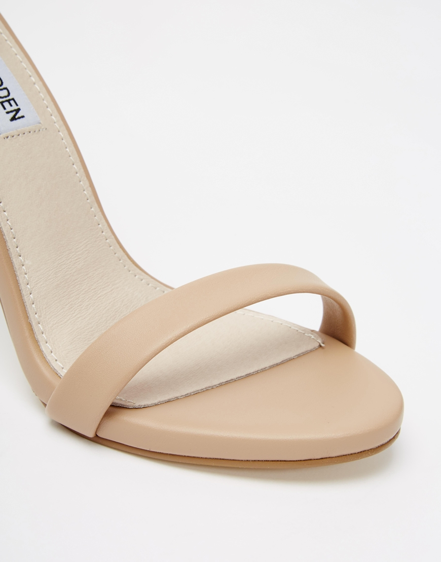 8f42fd7ca0f7 Lyst - Steve Madden Stecy Nude Barely There Heeled Sandals in Natural