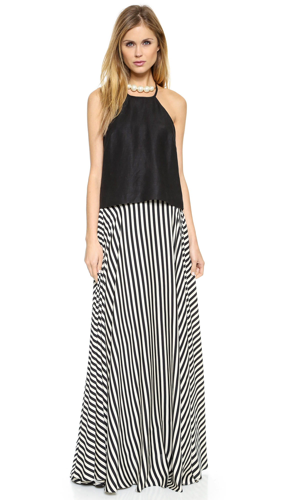 Milly Striped Maxi Skirt - Black/White in Black | Lyst