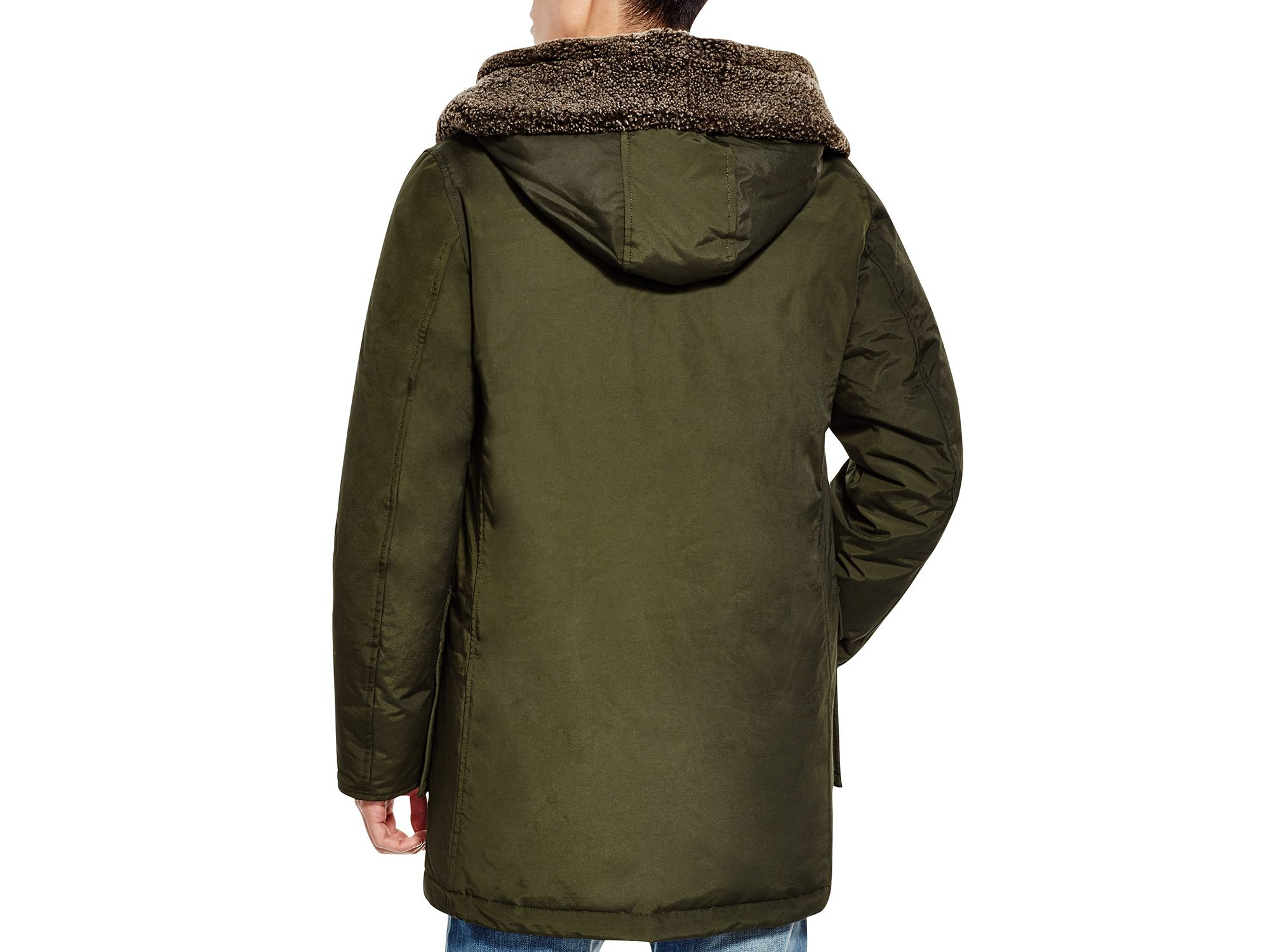 Shearling parka rosin green