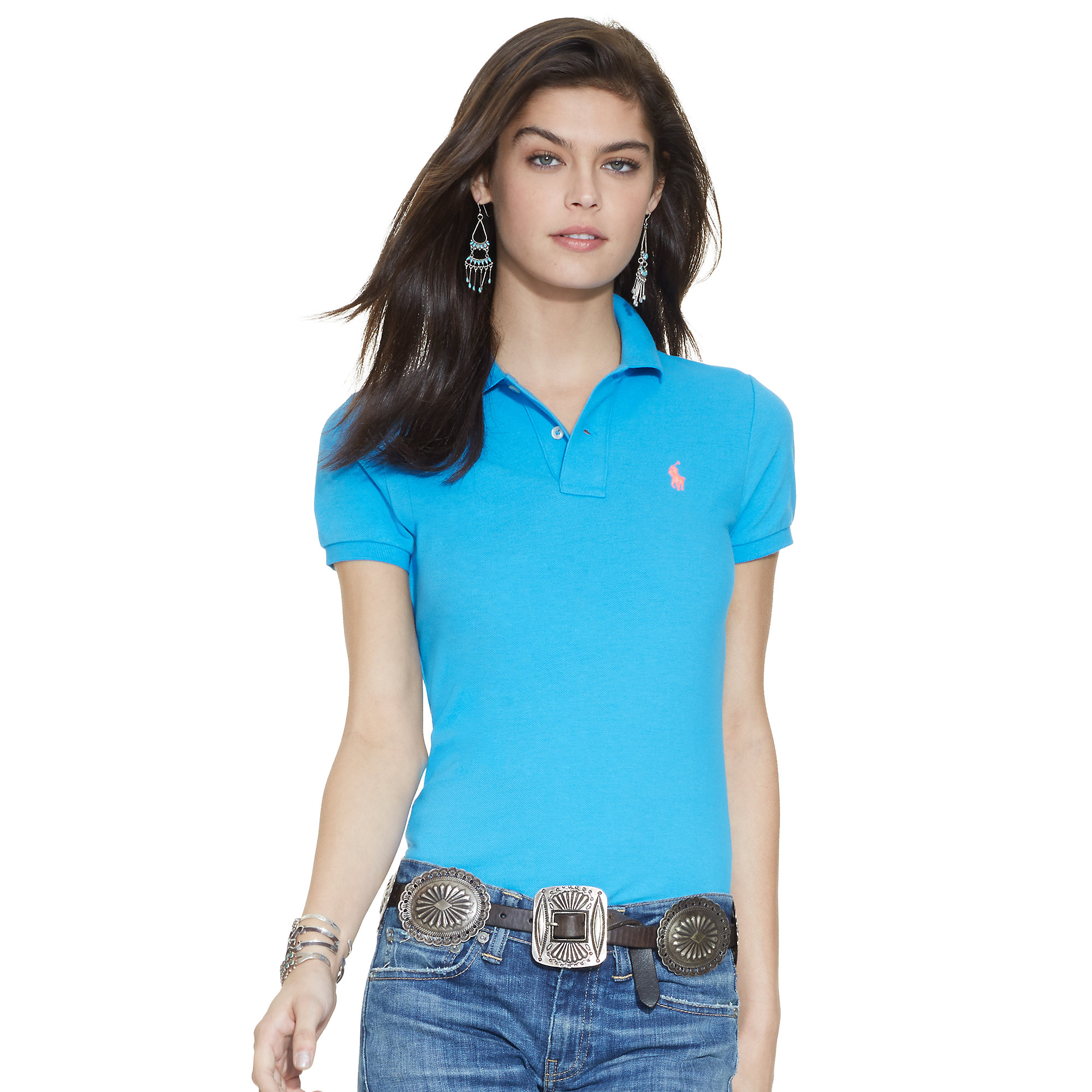 365ac4393571 Lyst - Polo Ralph Lauren Skinny-Fit Polo Shirt in Blue