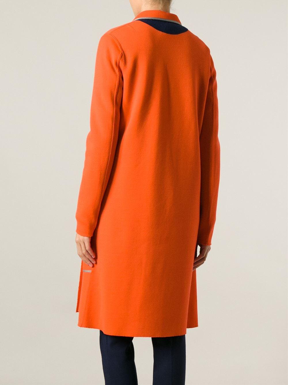 Lyst Kolor Contrast Trim Double Breasted Coat In Orange