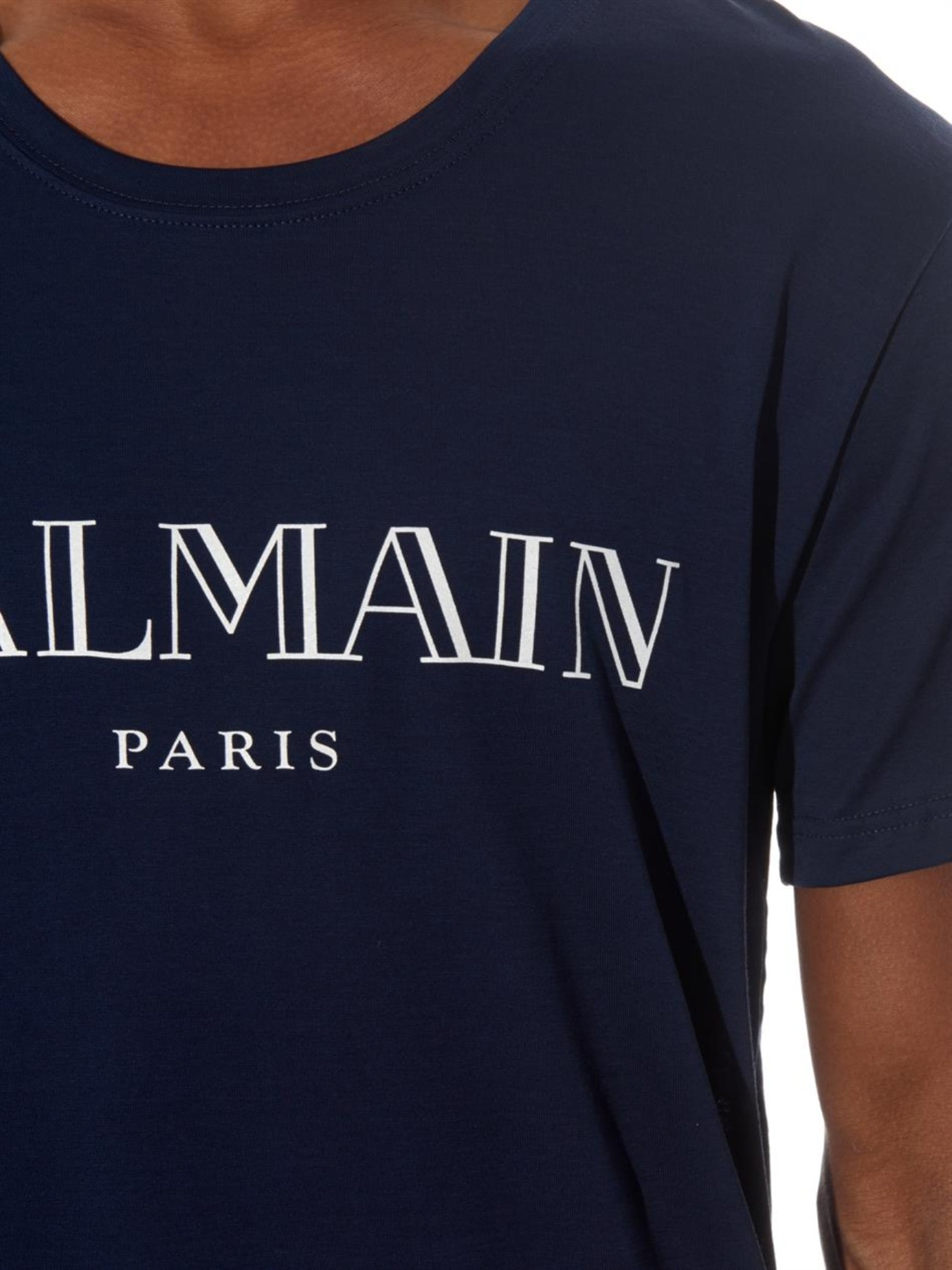 Lyst Balmain Logo Print Cotton Jersey T Shirt In Blue For Men