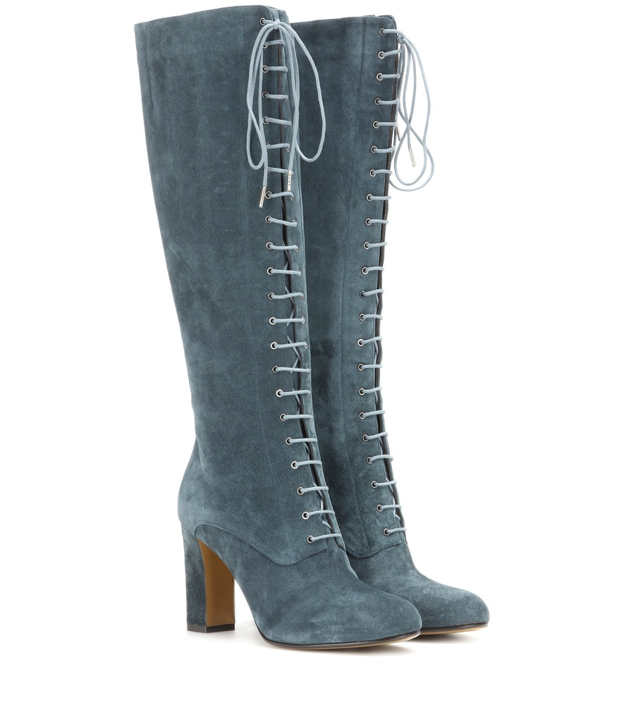 etro suede lace up knee high boots in blue lyst
