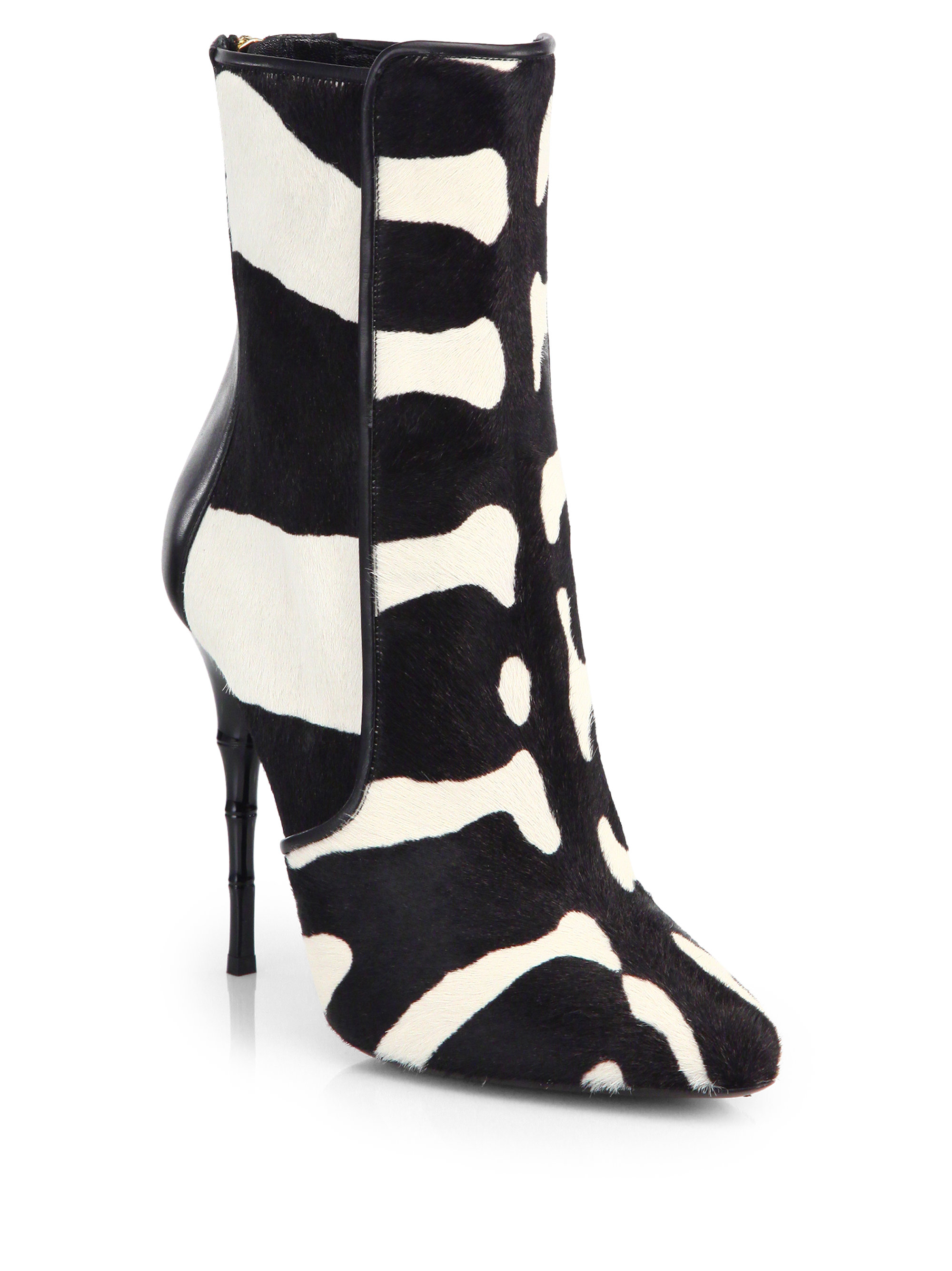 Lyst Balmain Zebra Print Calf Hair Booties
