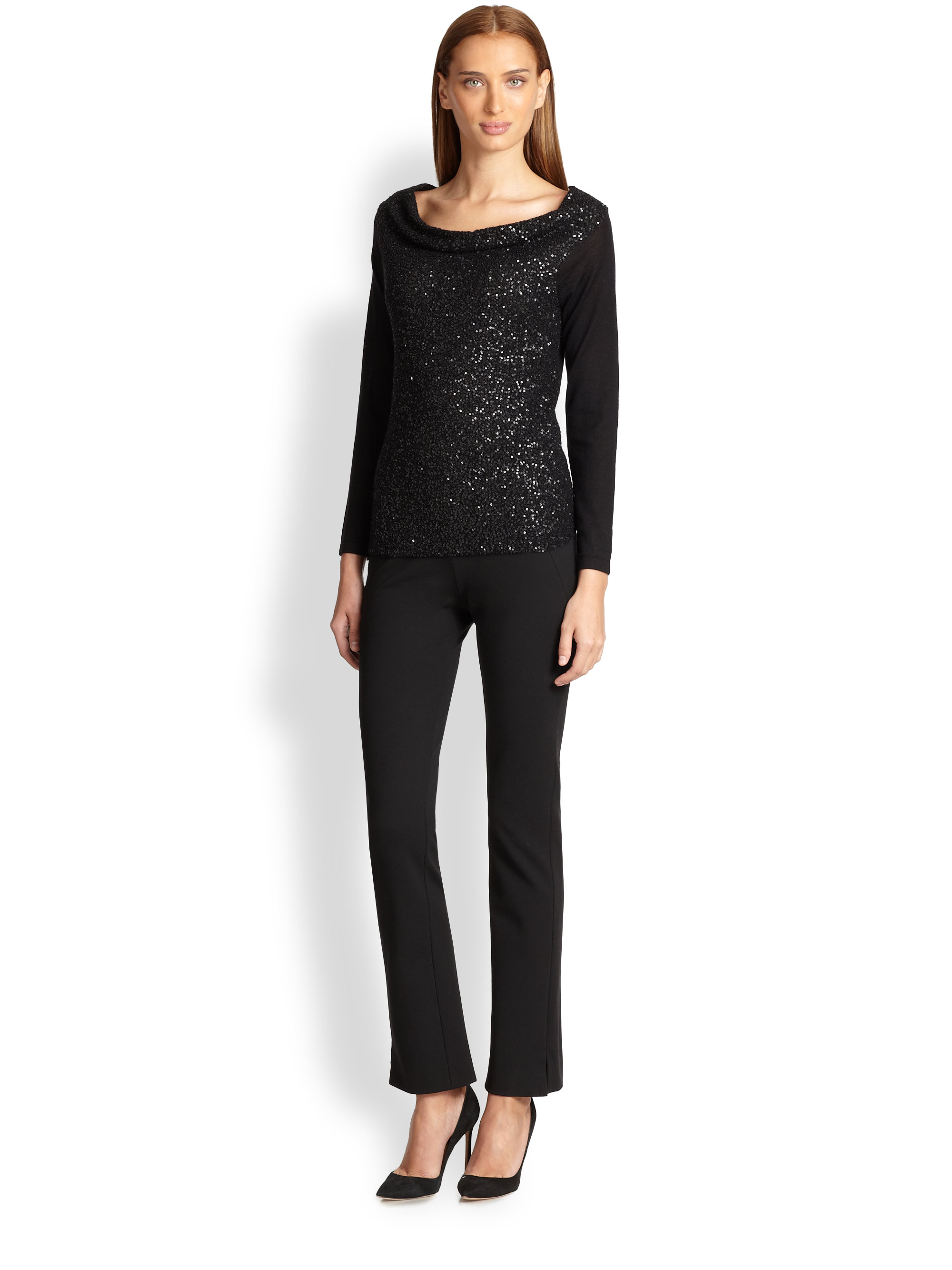 lyst donna karan sequined cashmere top in black. Black Bedroom Furniture Sets. Home Design Ideas