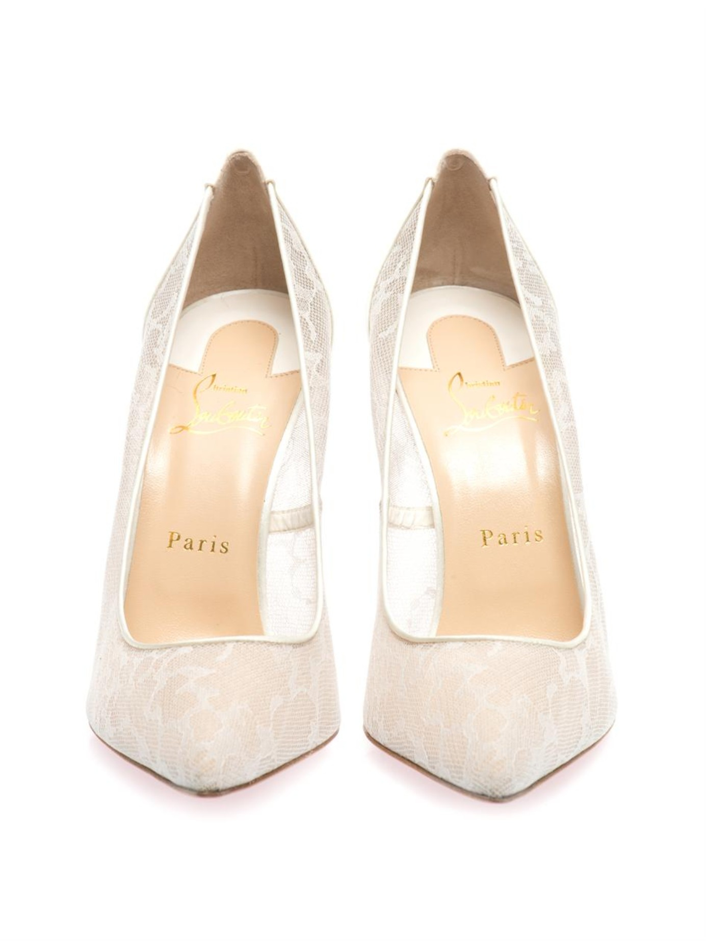edfd950fb474 ... closeout christian louboutin pigalle 100mm lace pumps in white lyst  f866f 6fa66