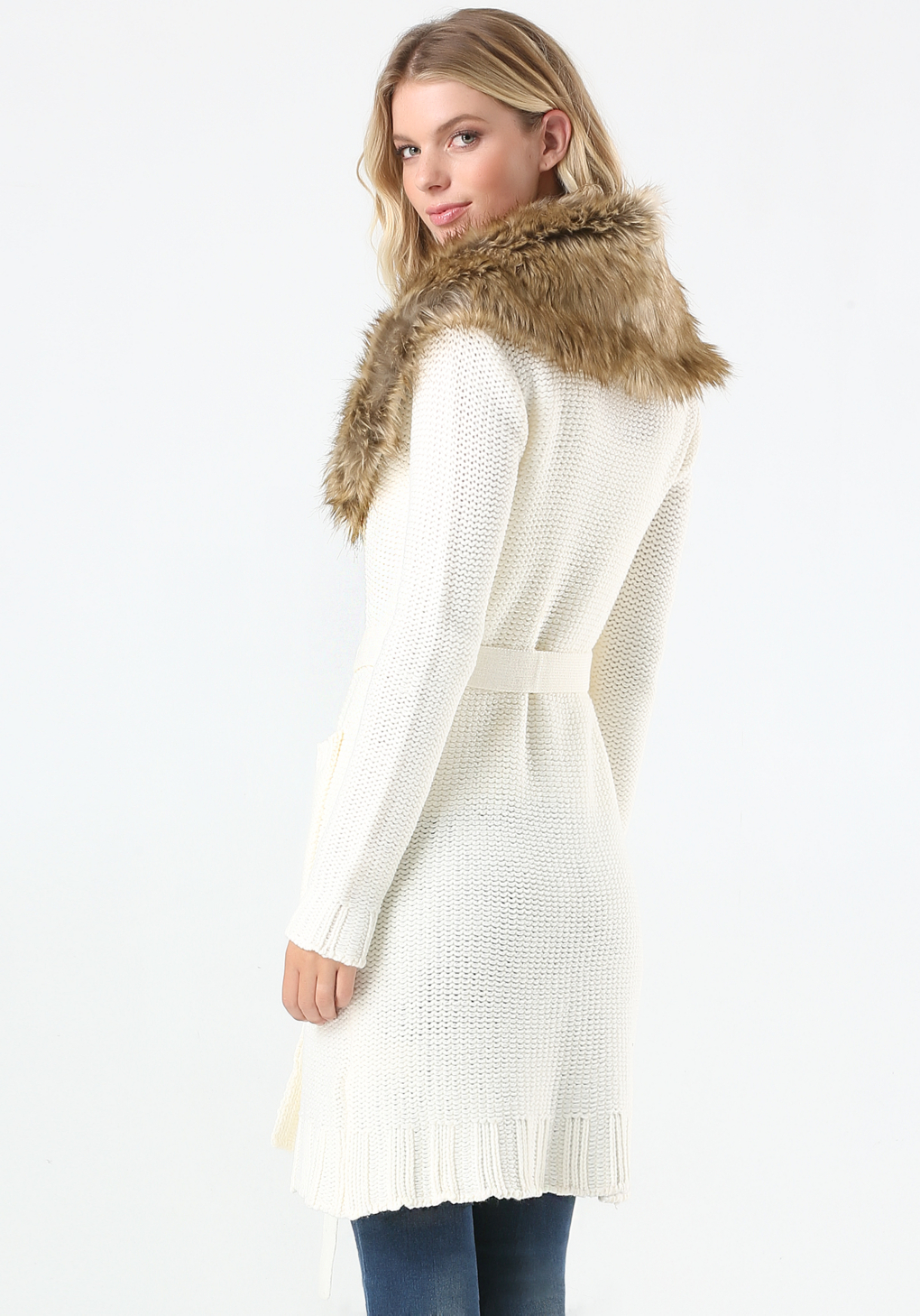 Bebe Faux Fur Trim Sweater Coat in White | Lyst