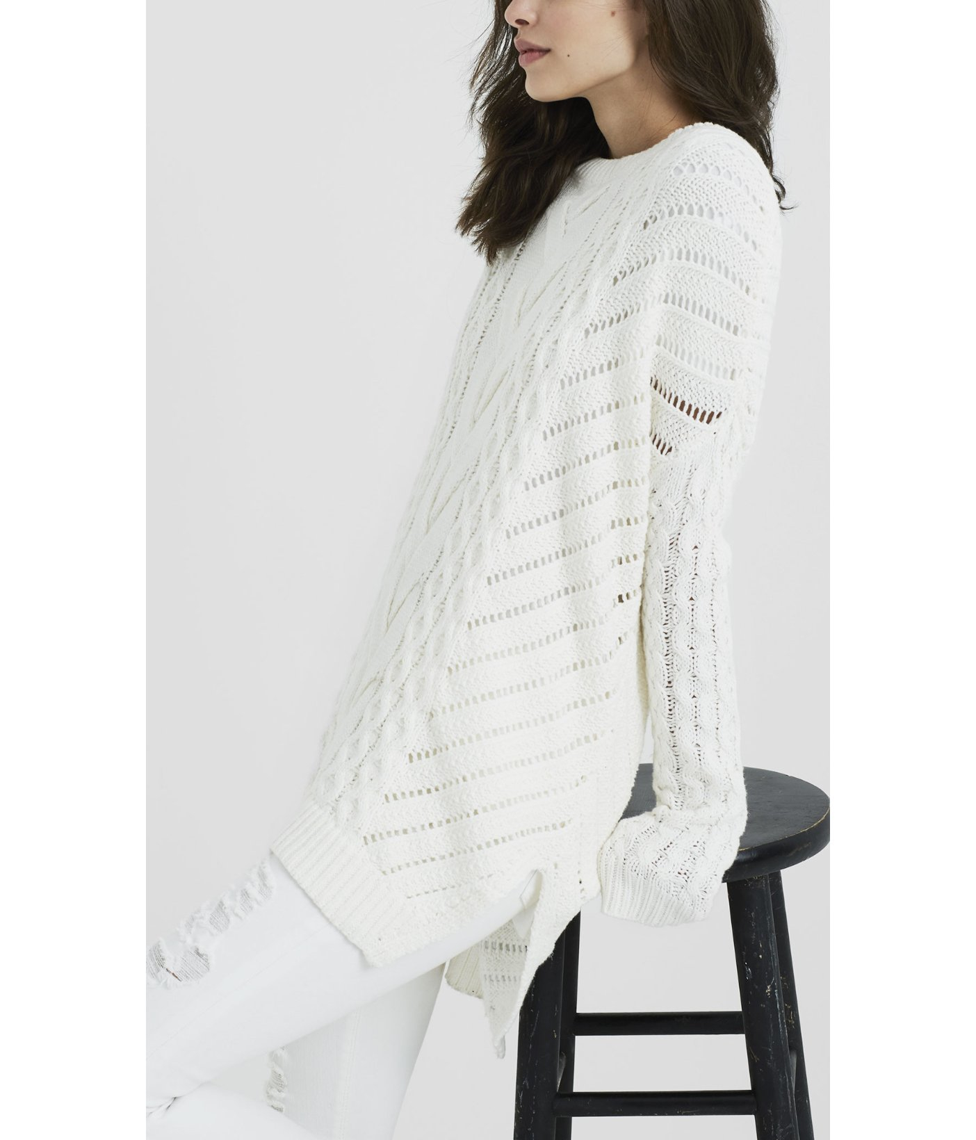 Lyst Express Oversized Open Cable Knit Tunic Sweater In White