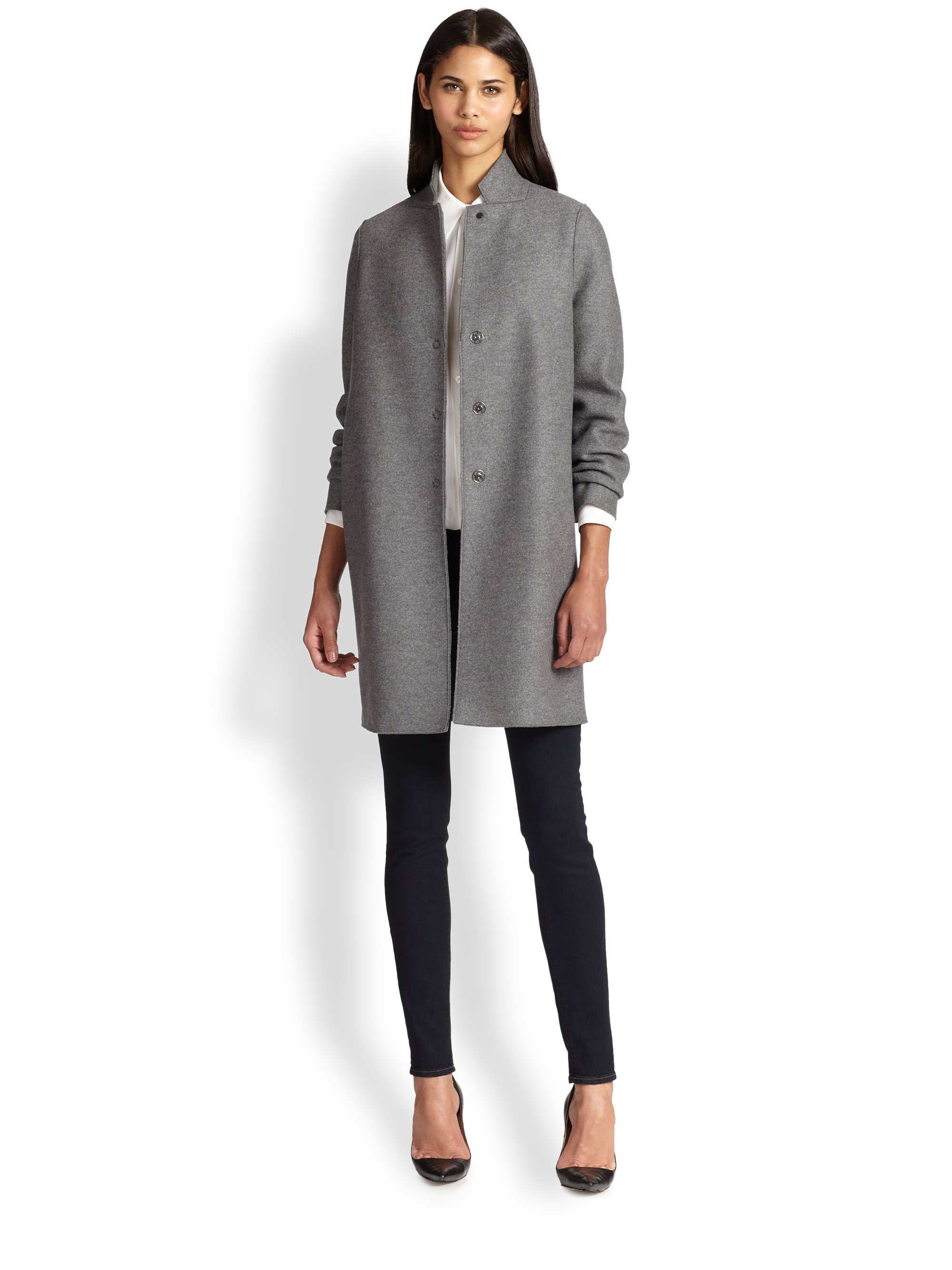 harris wharf london wool coat in gray lyst
