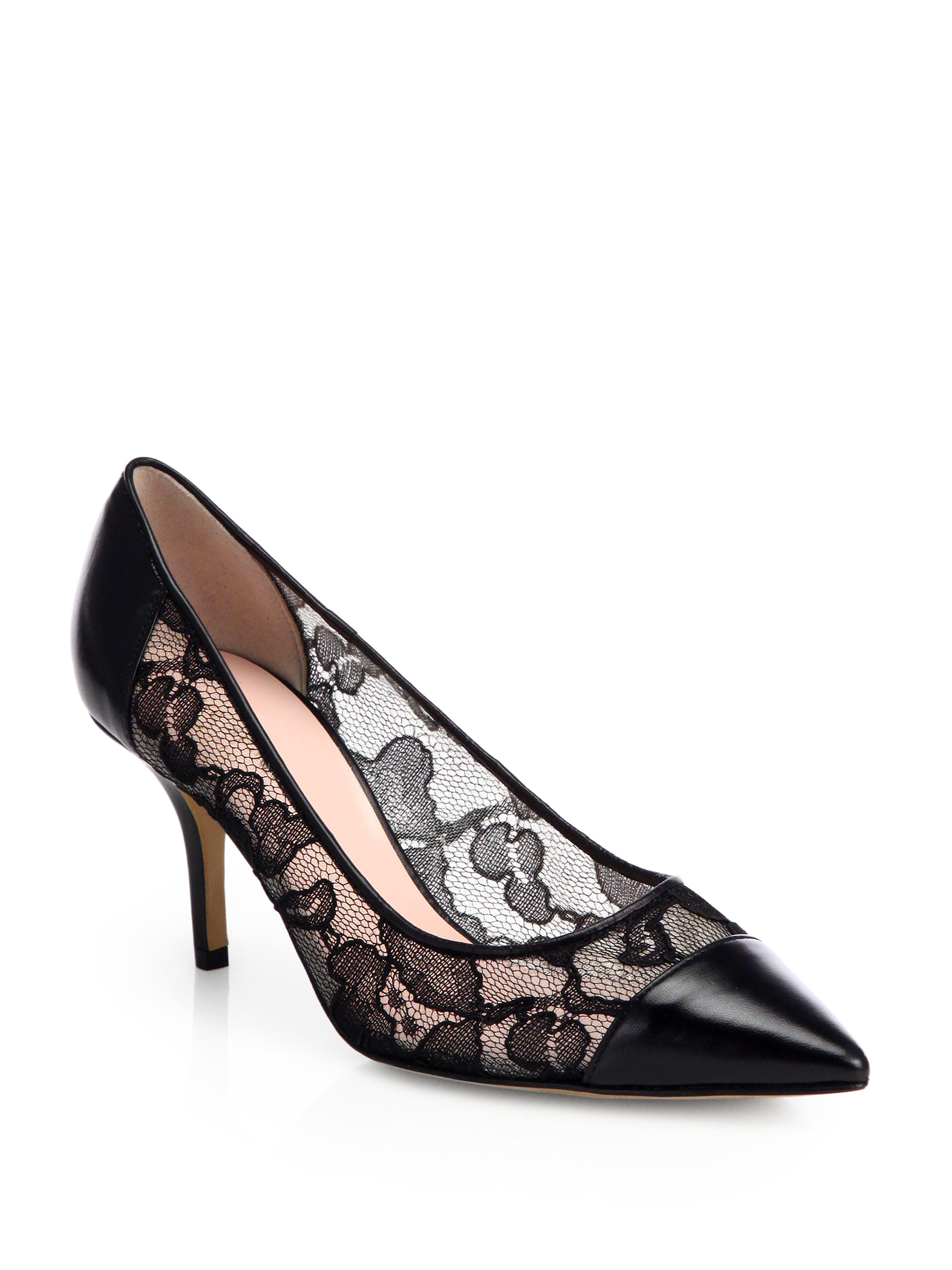 Lyst Kate Spade New York Jeb Lace Amp Leather Pumps In Black