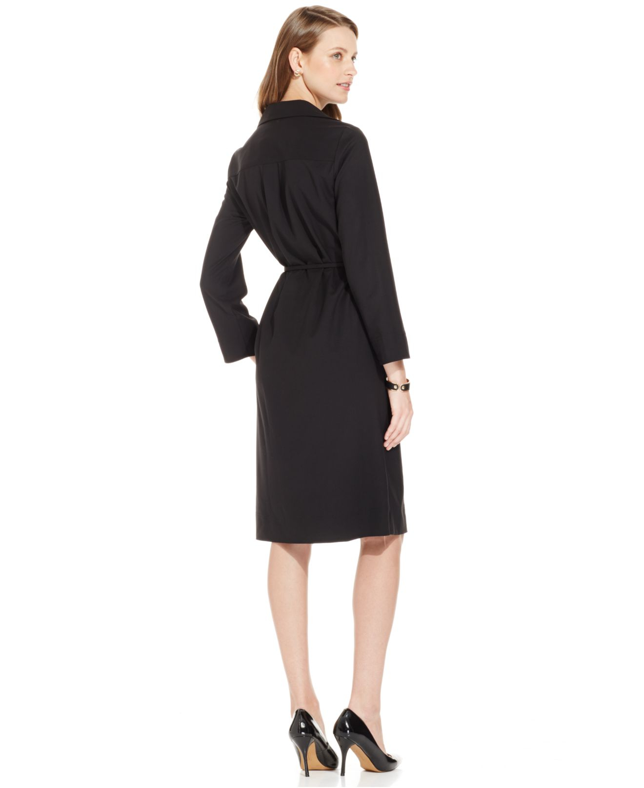 Jones new york collection button front belted shirt dress for New york and company dress shirts