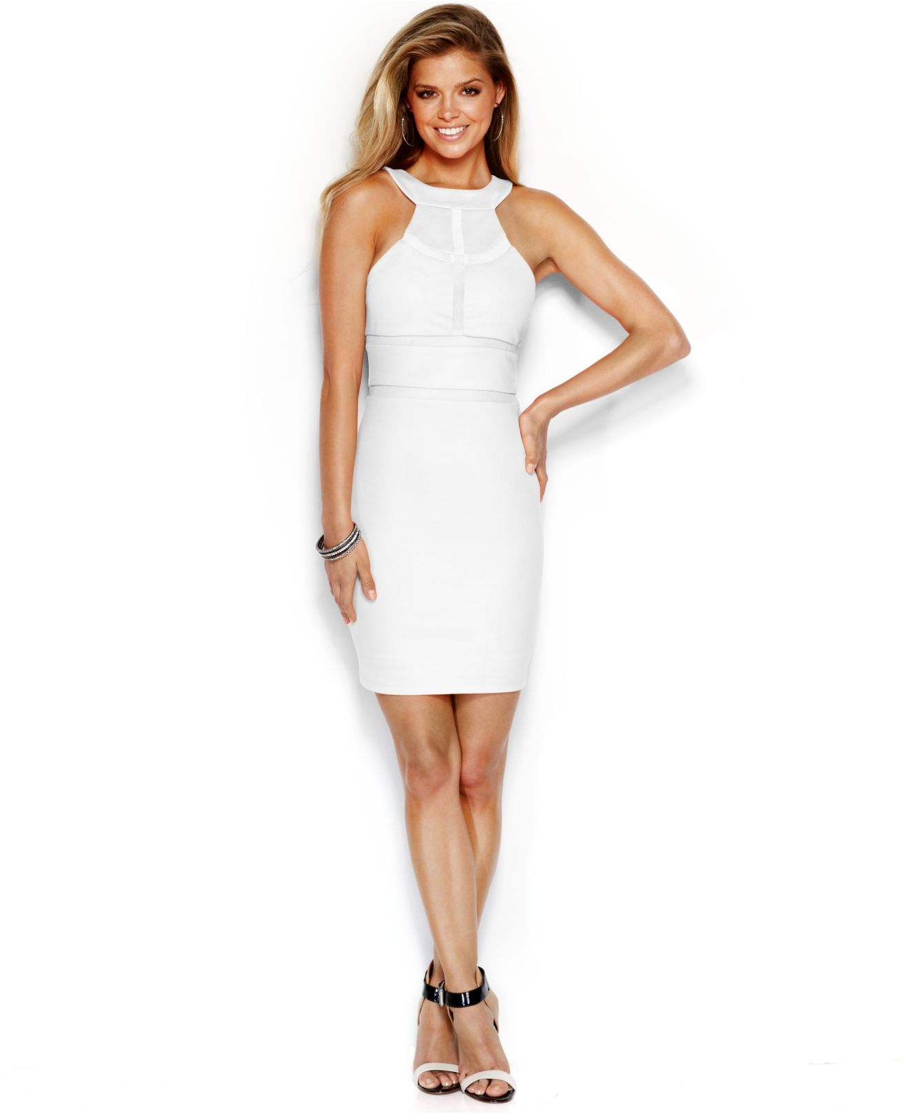 13a11fef0386 Guess Paneled Sheath Dress in White - Lyst
