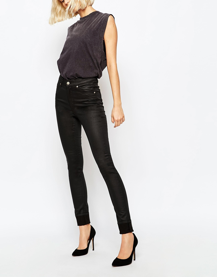 Cheap monday Second Skin High Waist Coated Skinny Jeans in Black