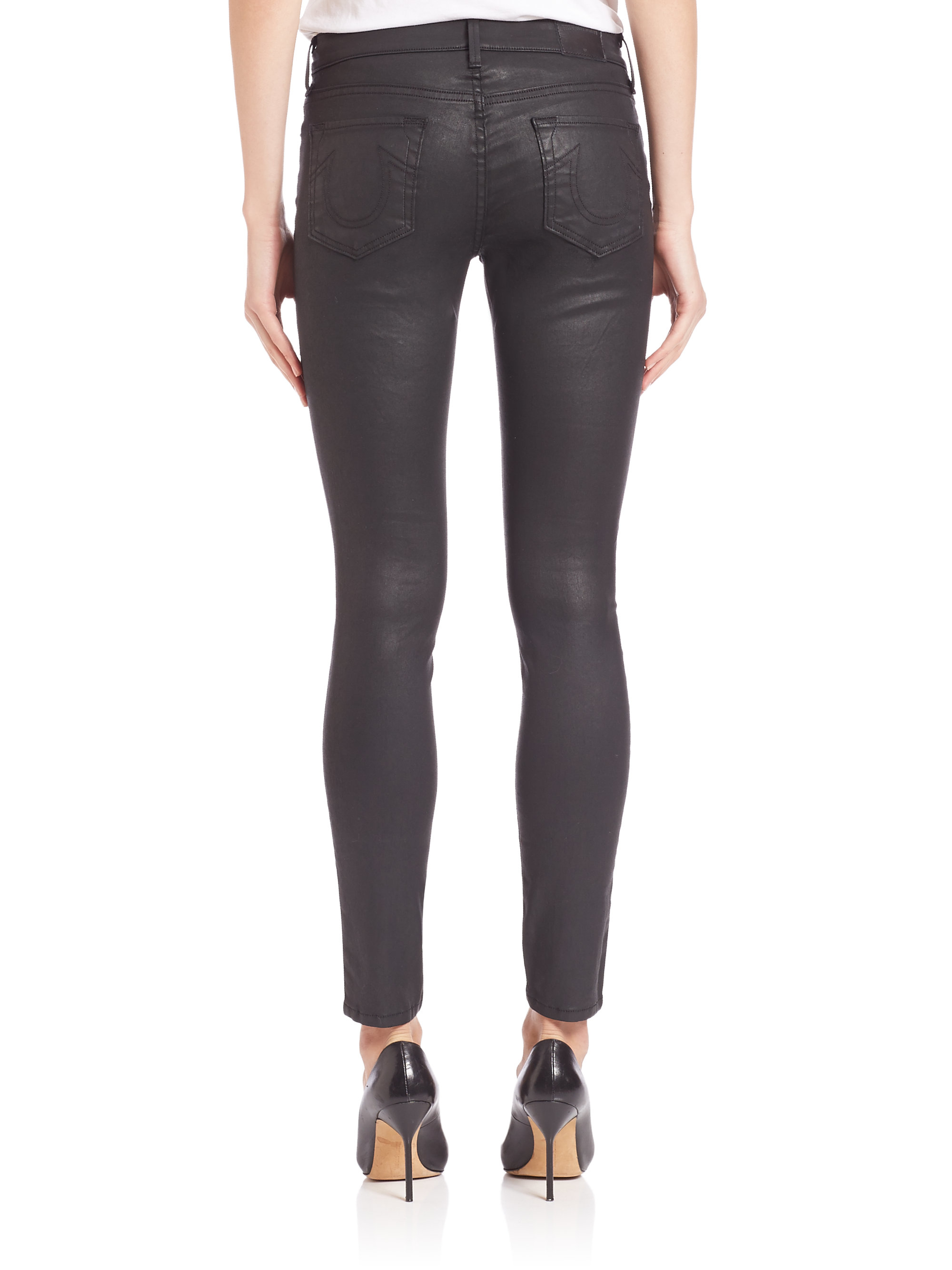 true religion halle coated skinny jeans in black lyst