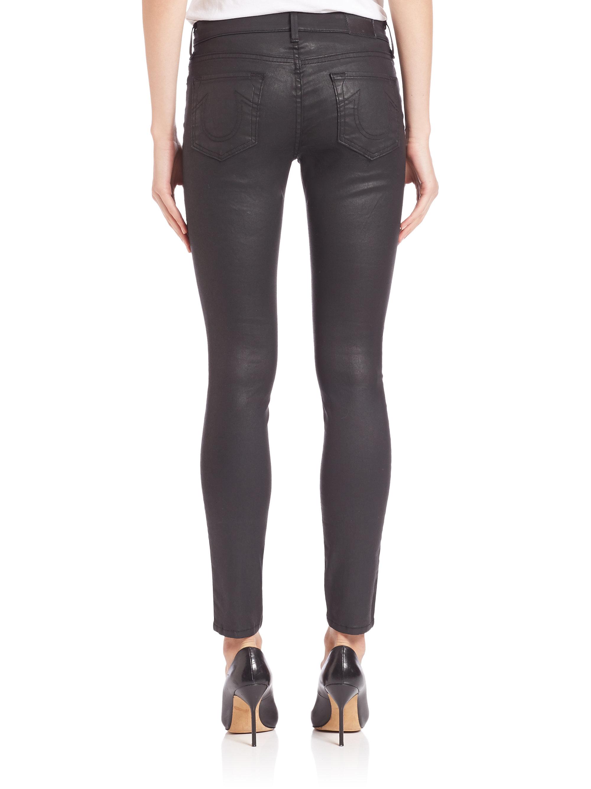 true religion halle coated skinny jeans in black lyst. Black Bedroom Furniture Sets. Home Design Ideas