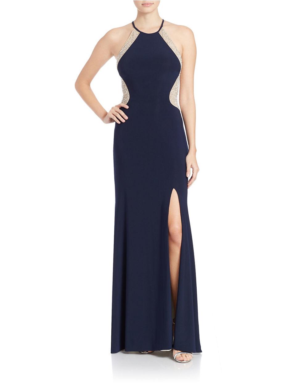 Lyst - Xscape Plus Beaded Halter Dress in Blue