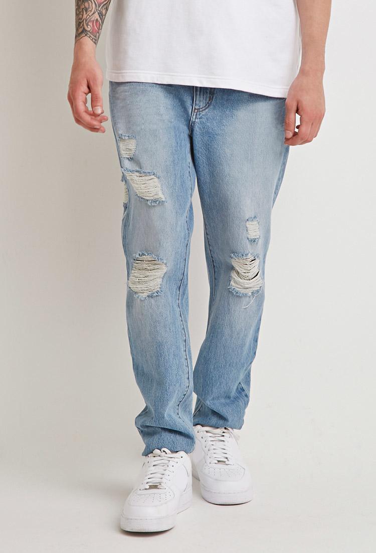 Forever 21 Destroyed Straight-leg Jeans in Blue for Men | Lyst