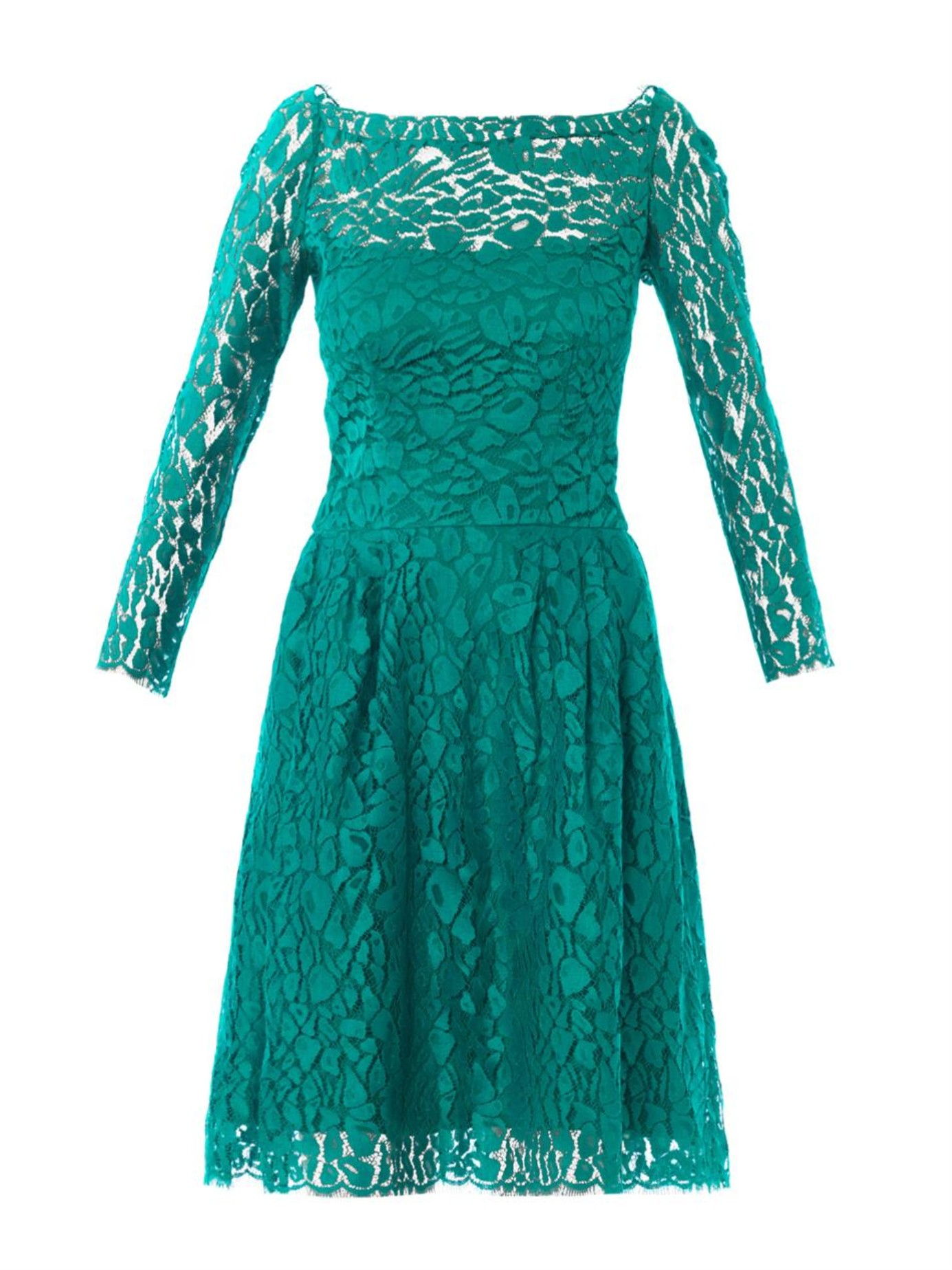 lyst issa lace long sleeved dress in green
