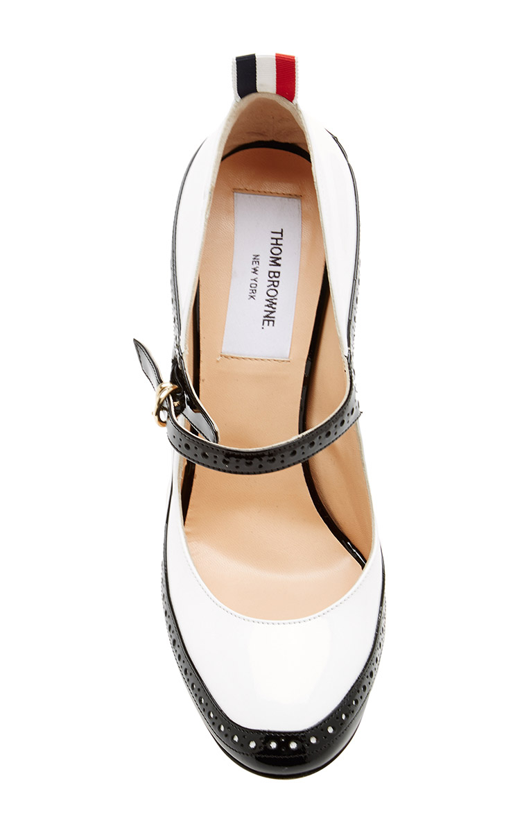 796f024fe3 Lyst - Thom Browne Patent-Leather Mary Jane Spectator Pumps in White
