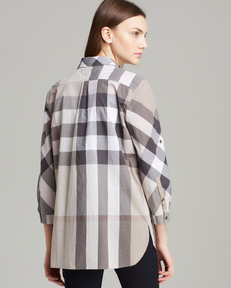 burberry brit exploded check print button down shirt in