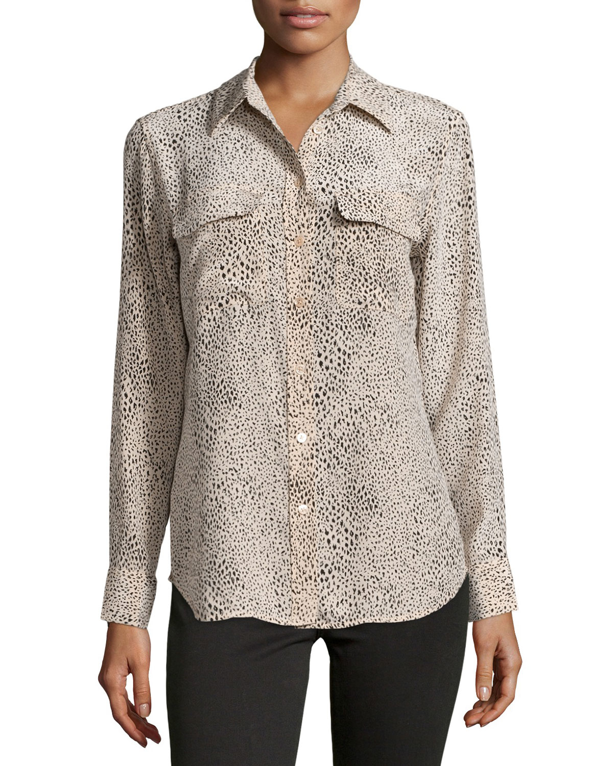 f2c315b9f79f1b Lyst - Equipment Slim Signature Long-sleeve Silk Animal-print Shirt