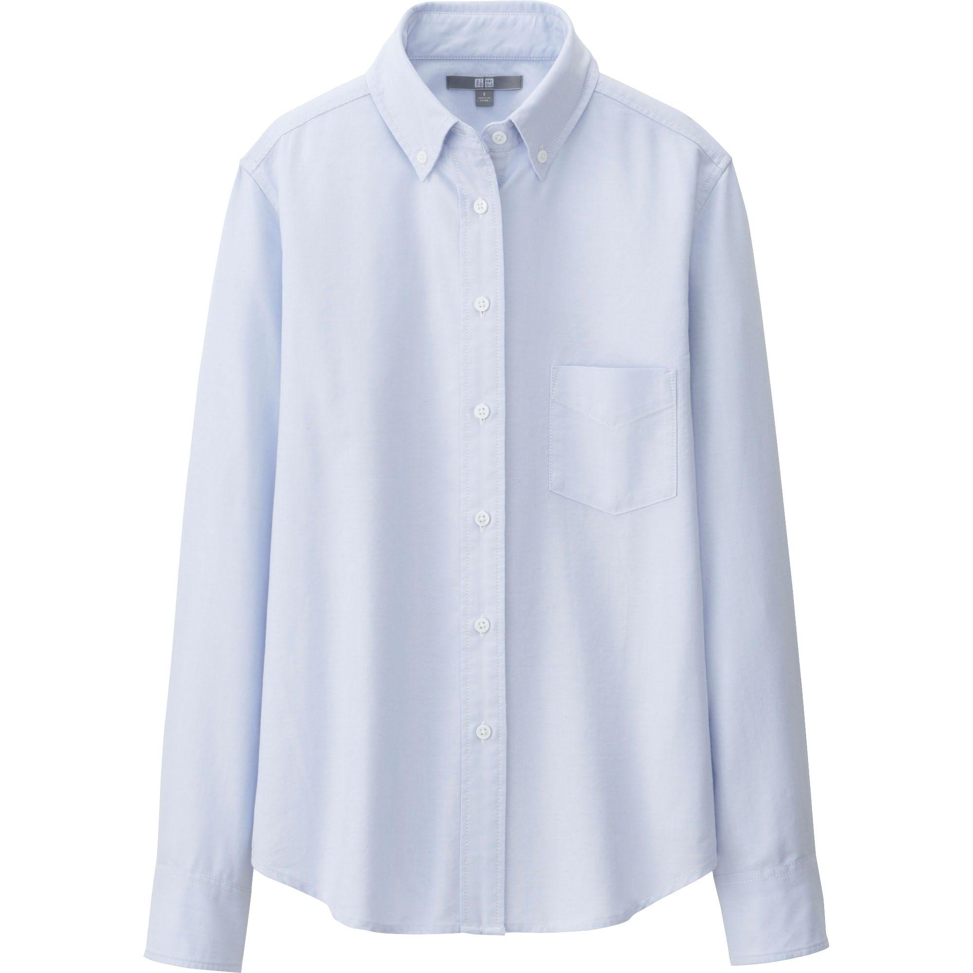 Uniqlo Women Oxford Long Sleeve Shirt In Blue Lyst
