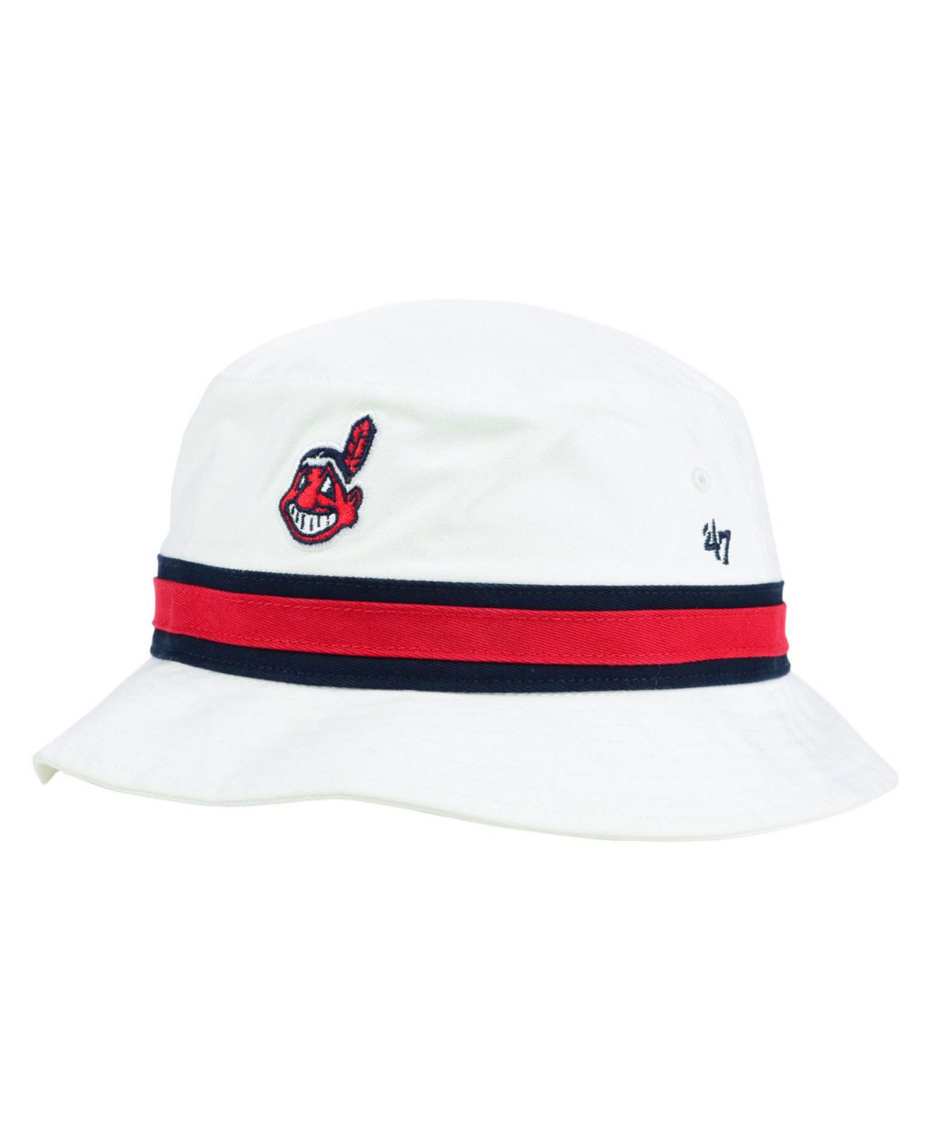 Lyst - 47 Brand Cleveland Indians Striped Bucket Hat in White 52a0cb00c28