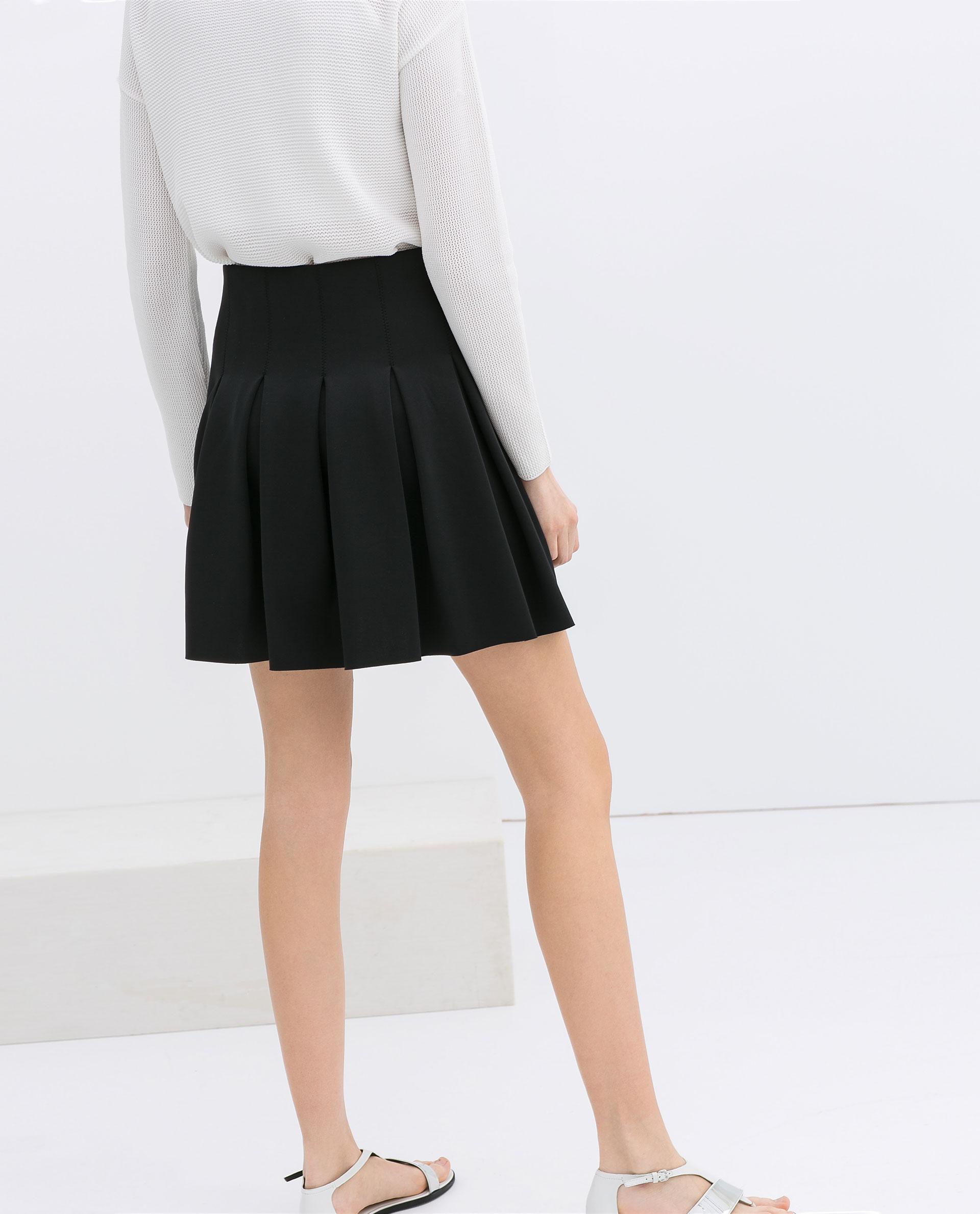 Black pleated school skirt fashion 47