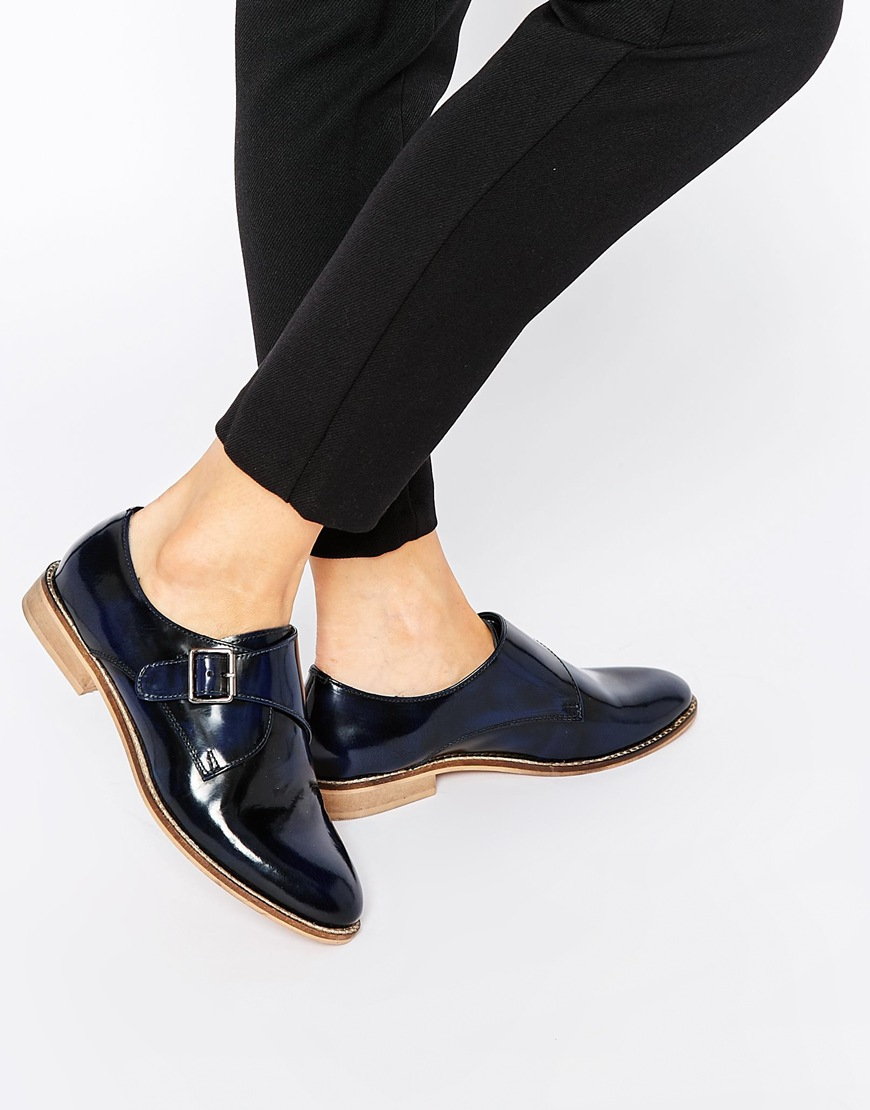 Buy Women Shoes / Asos Moss Wide Fit Leather Flat Shoes