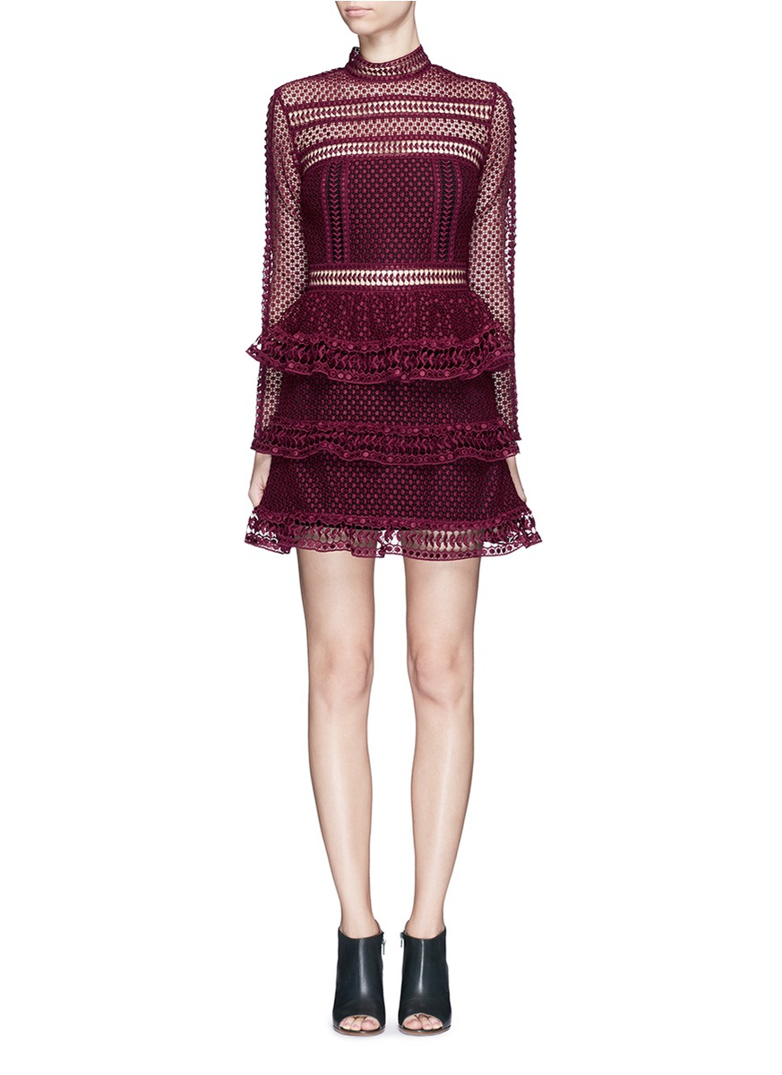c7599beec383 Self-Portrait Paneled Lace Mini Dress in Red - Lyst