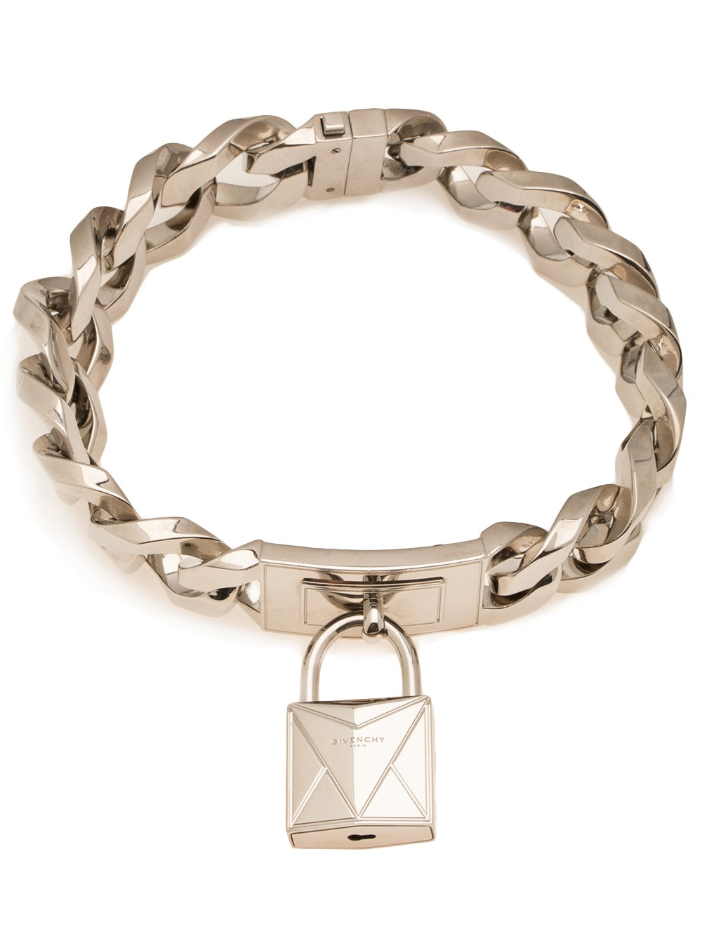Givenchy Lock Necklace In Silver Metallic Lyst