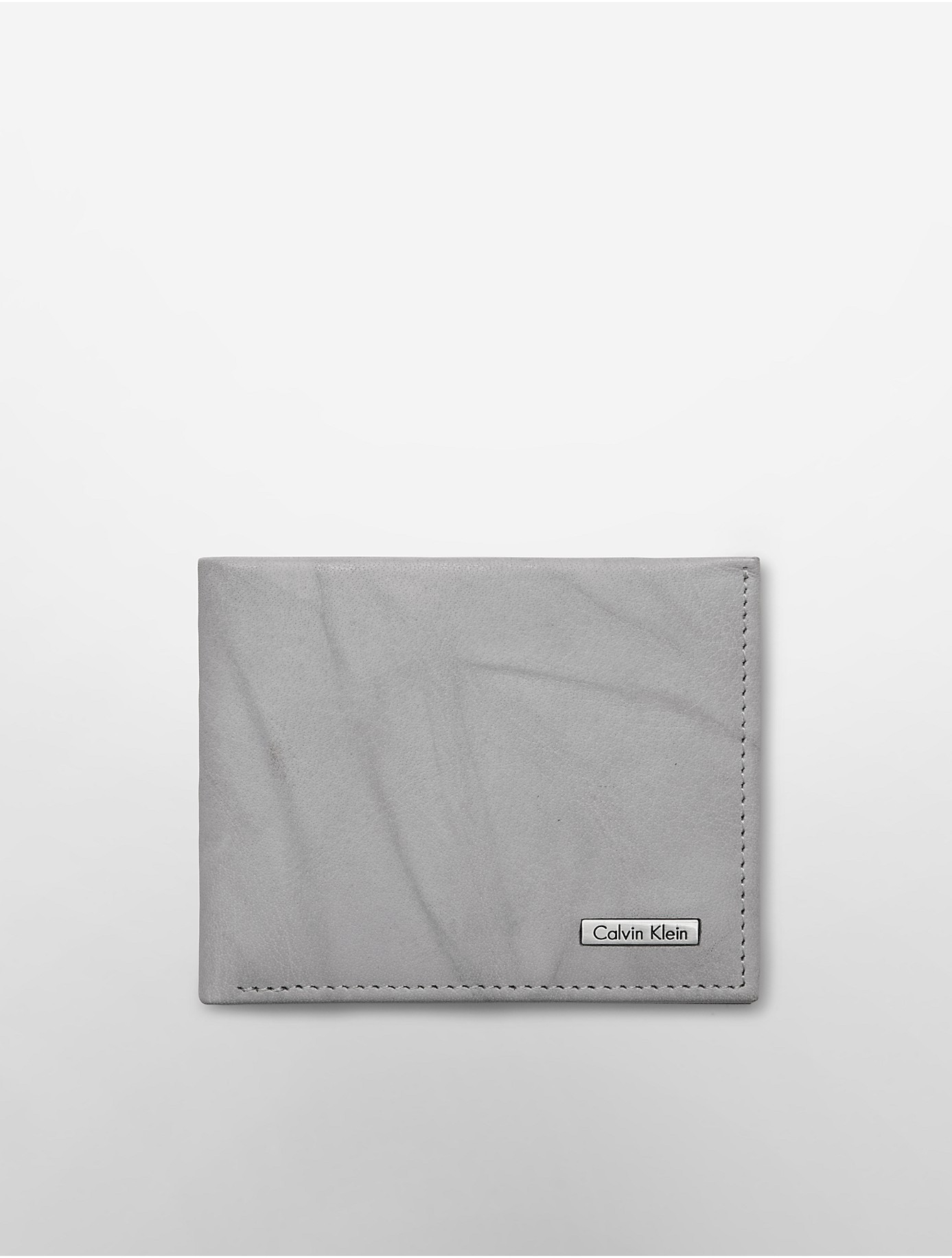 Calvin Klein Leather Marbled Slimfold Wallet In Gray Lyst