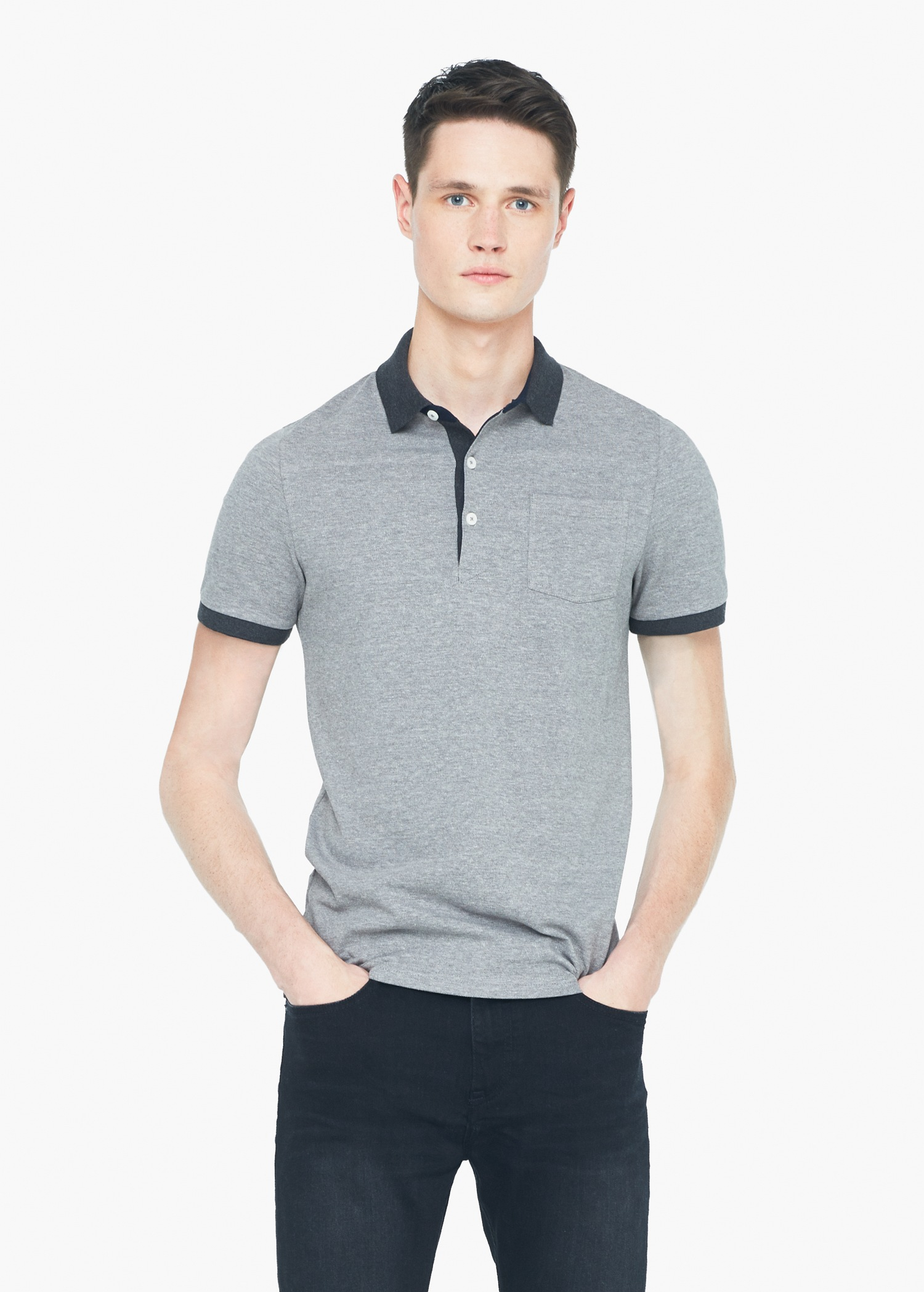 Mango slim fit contrast collar polo shirt in gray for men for Slim fit collared shirts