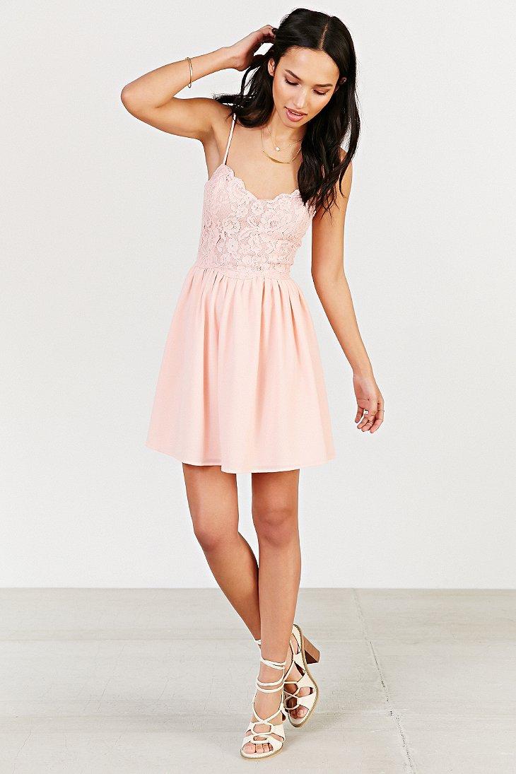 Kimchi blue Spaghetti Strap Lace Dress in Pink | Lyst