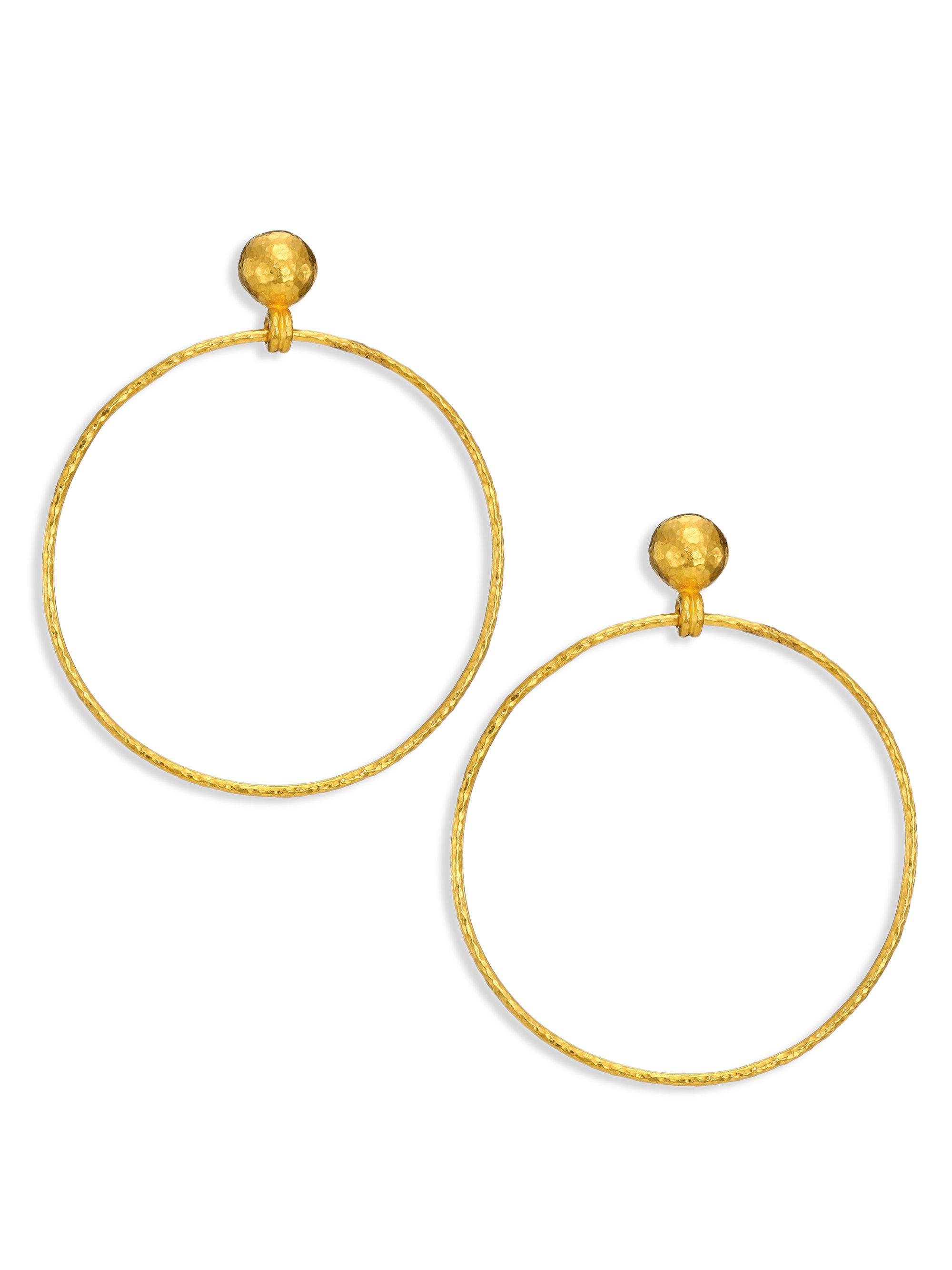 gurhan hoopla 24k yellow gold geo drop hoop earrings in