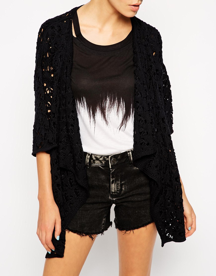 Asos Waterfall Cardigan In Crochet in Black | Lyst