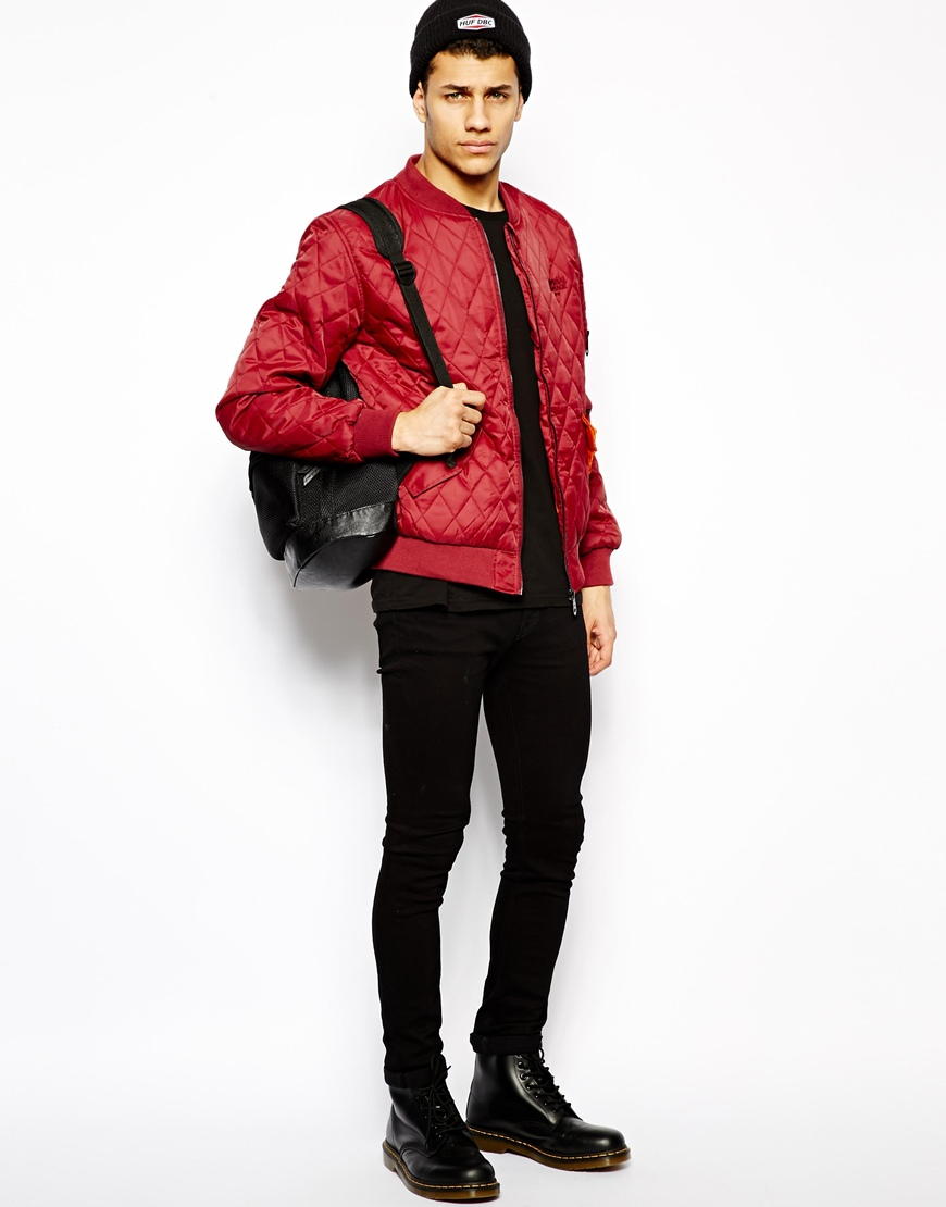 Red Bomber Jacket Mens - JacketIn : red quilted jacket mens - Adamdwight.com