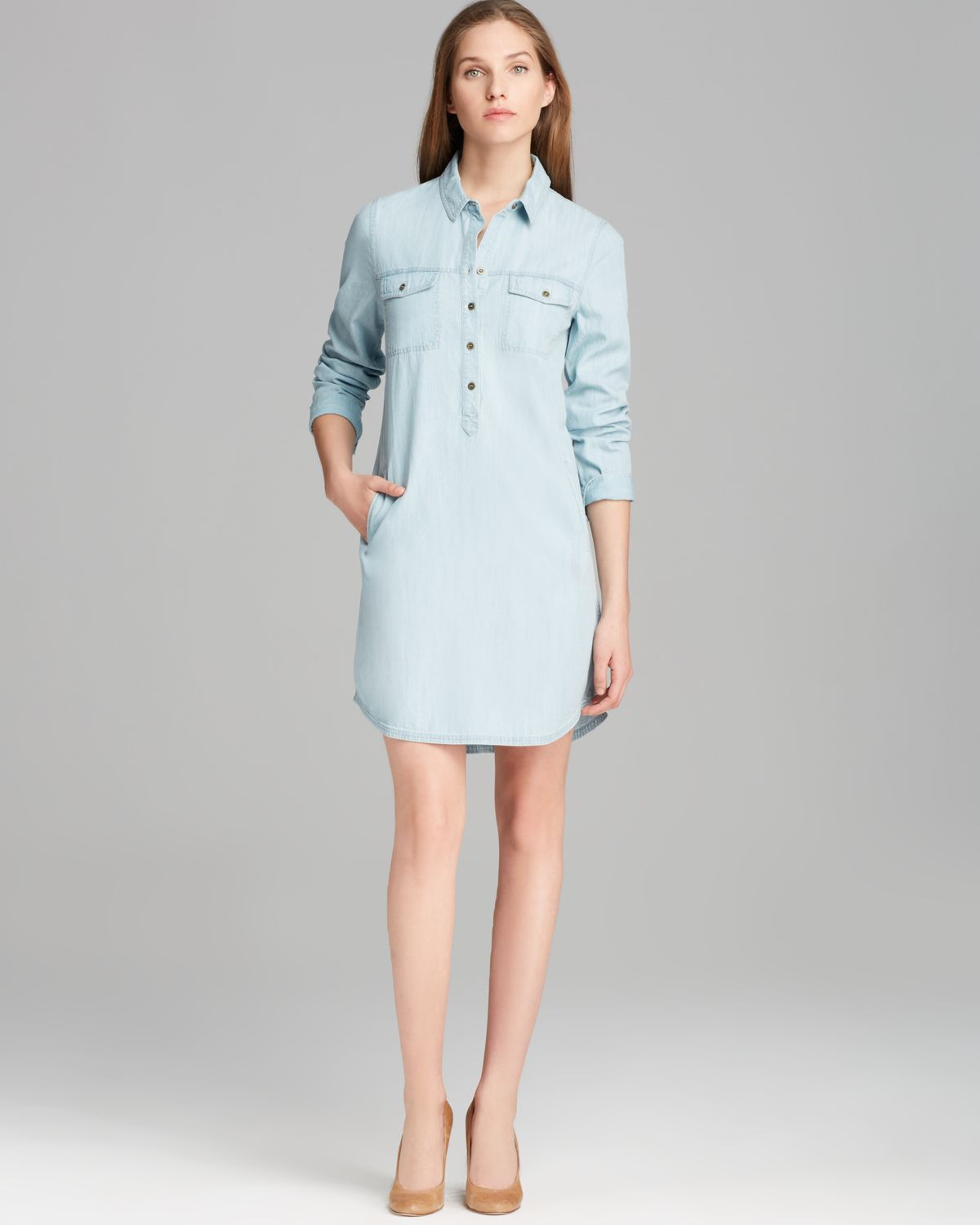 Eileen Fisher Denim Shirt Dress in Blue (Light Denim) | Lyst