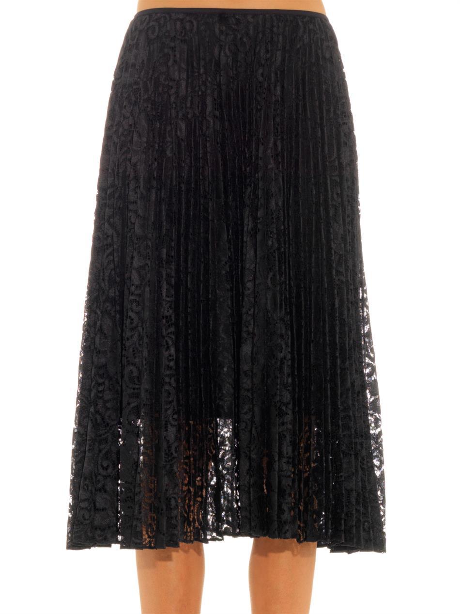 51234d02c Theory Zeyn Pleated Lace Skirt in Black - Lyst