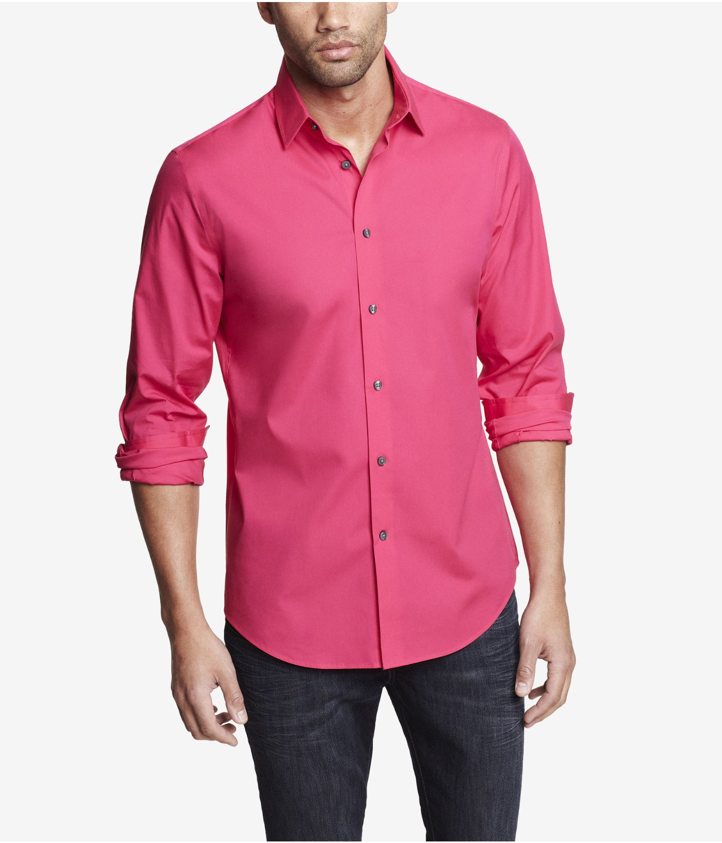 Lyst - Express Modern Fit 1mx Stretch Cotton Shirt in Pink for Men
