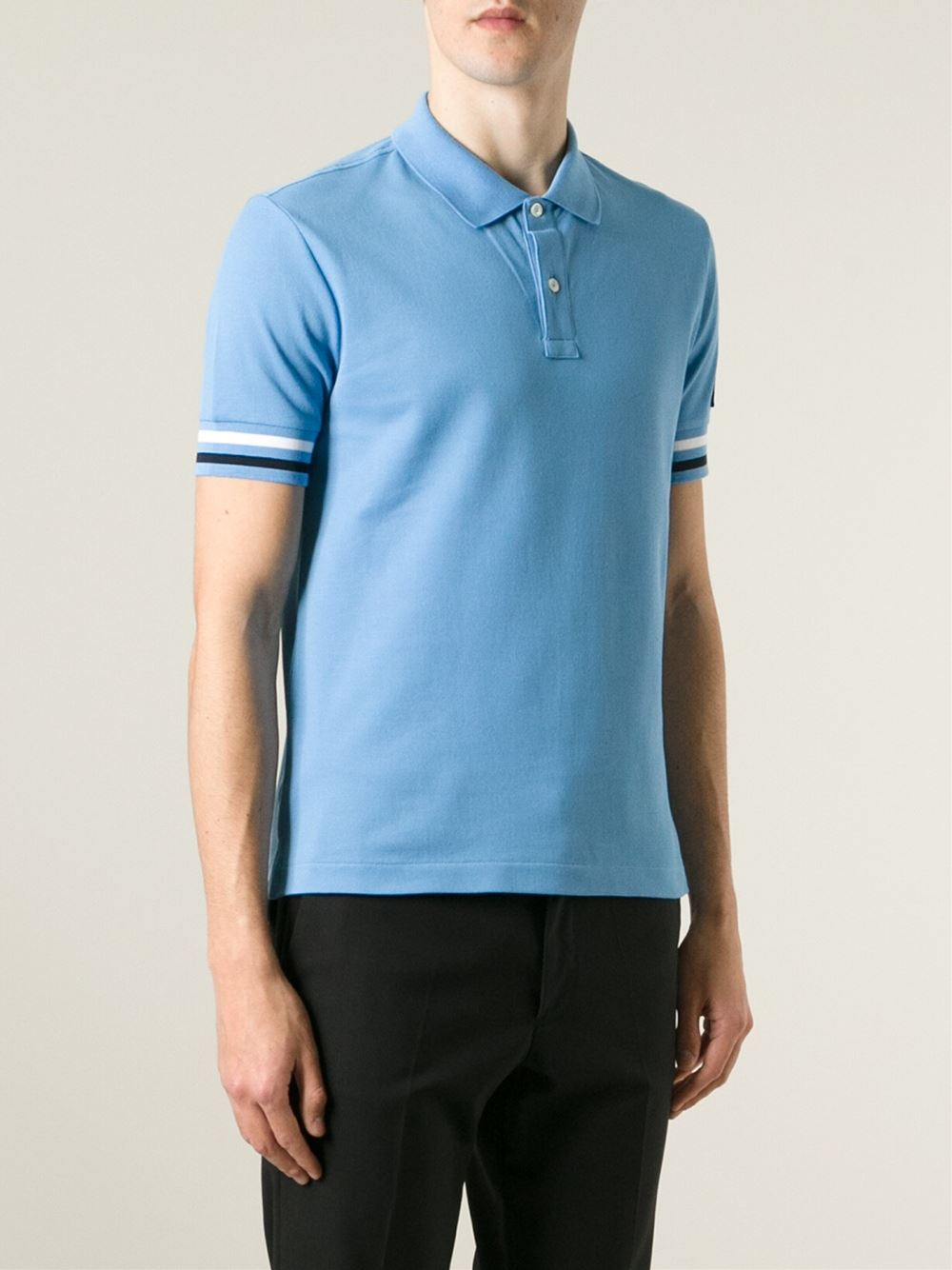 e684032a760f Moncler Gamme Bleu Logo Embroidered Polo Shirt in Blue for Men - Lyst