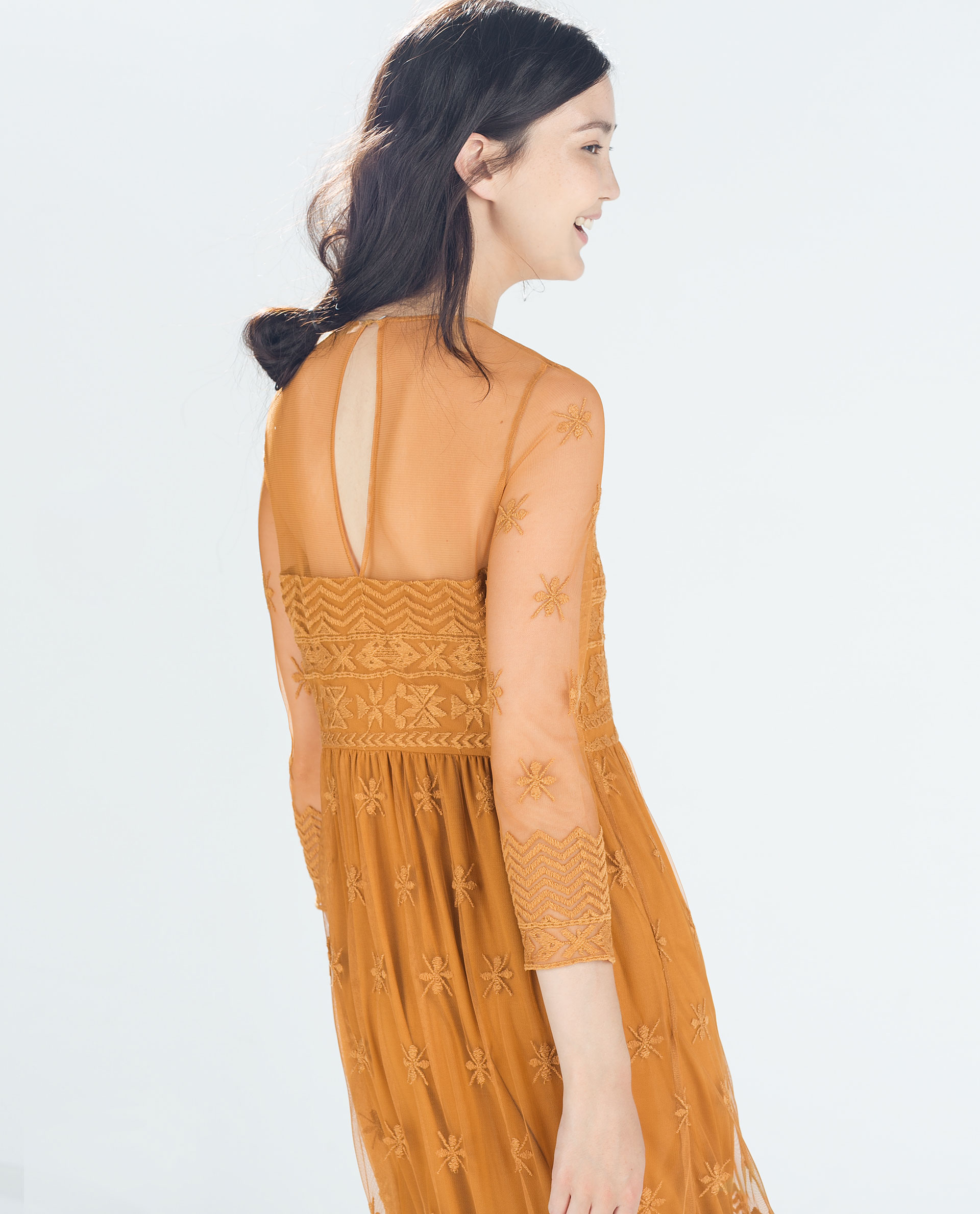 Zara embroidered dress in brown lyst
