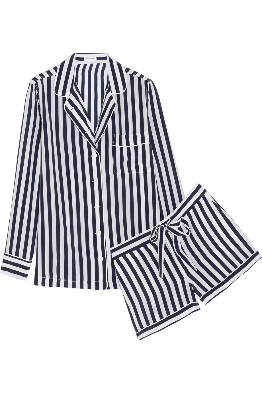 Lyst - Equipment Lilian Striped Washed-Silk Pajama Set in White cbf9c1826
