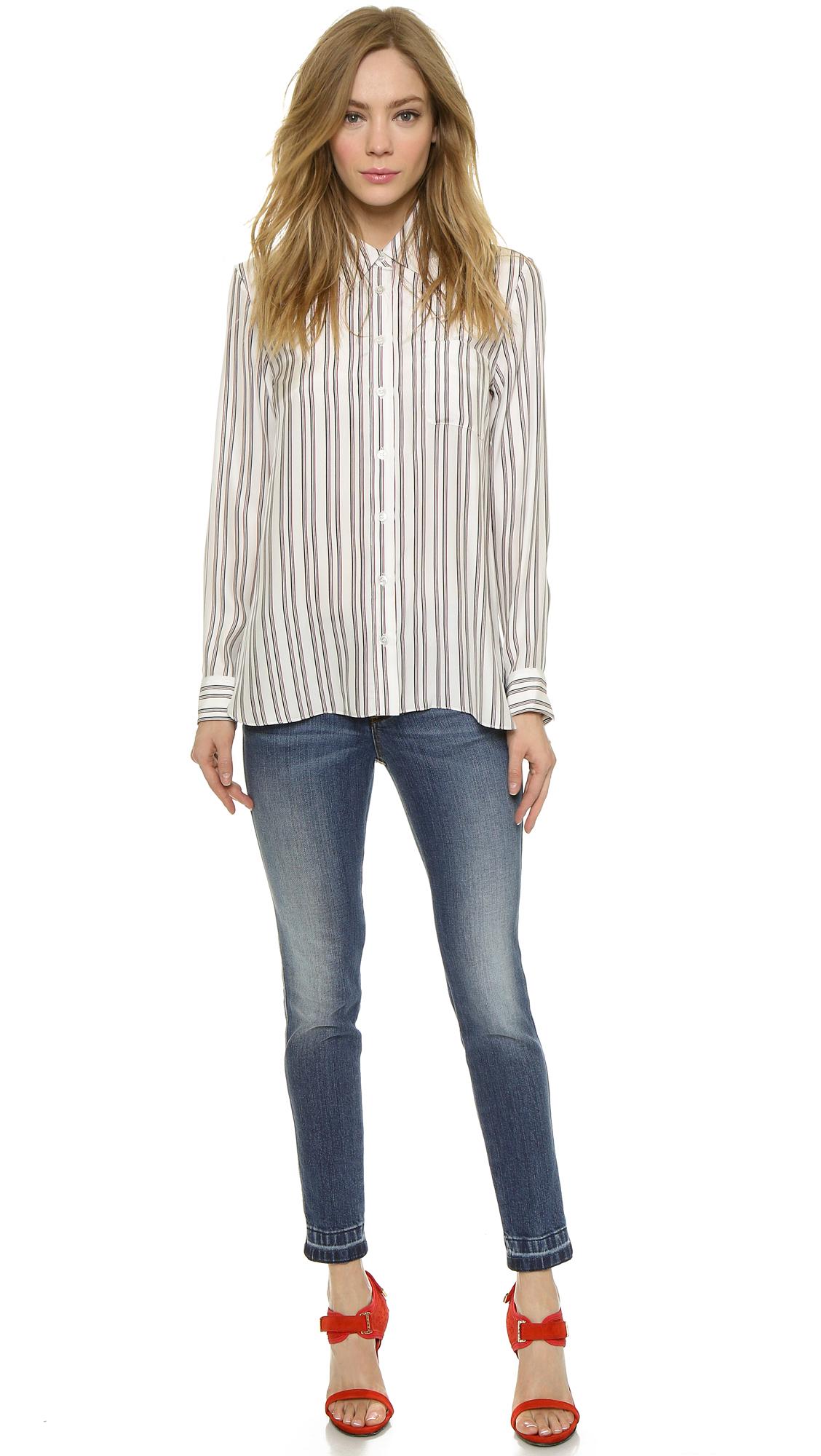 Jenni Kayne Button Down Shirt White Red Navy In