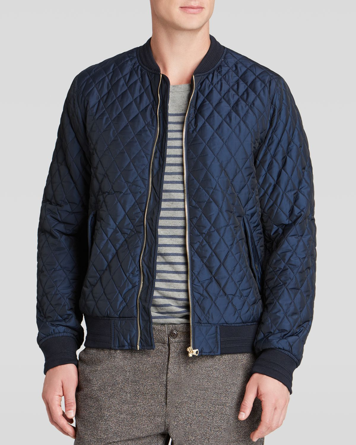 Scotch & soda Quilted Nylon Bomber Jacket in Blue for Men | Lyst