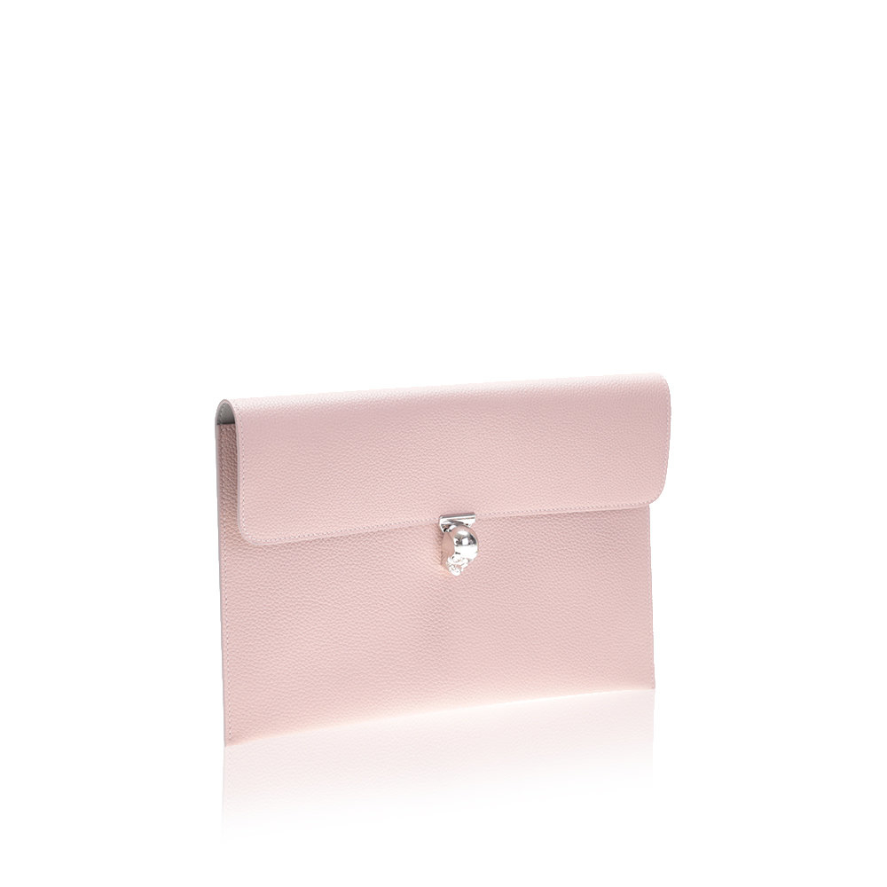 4b7f290efa18 Lyst - Alexander McQueen Light Pink Hammered Leather Clutch Bag in Pink